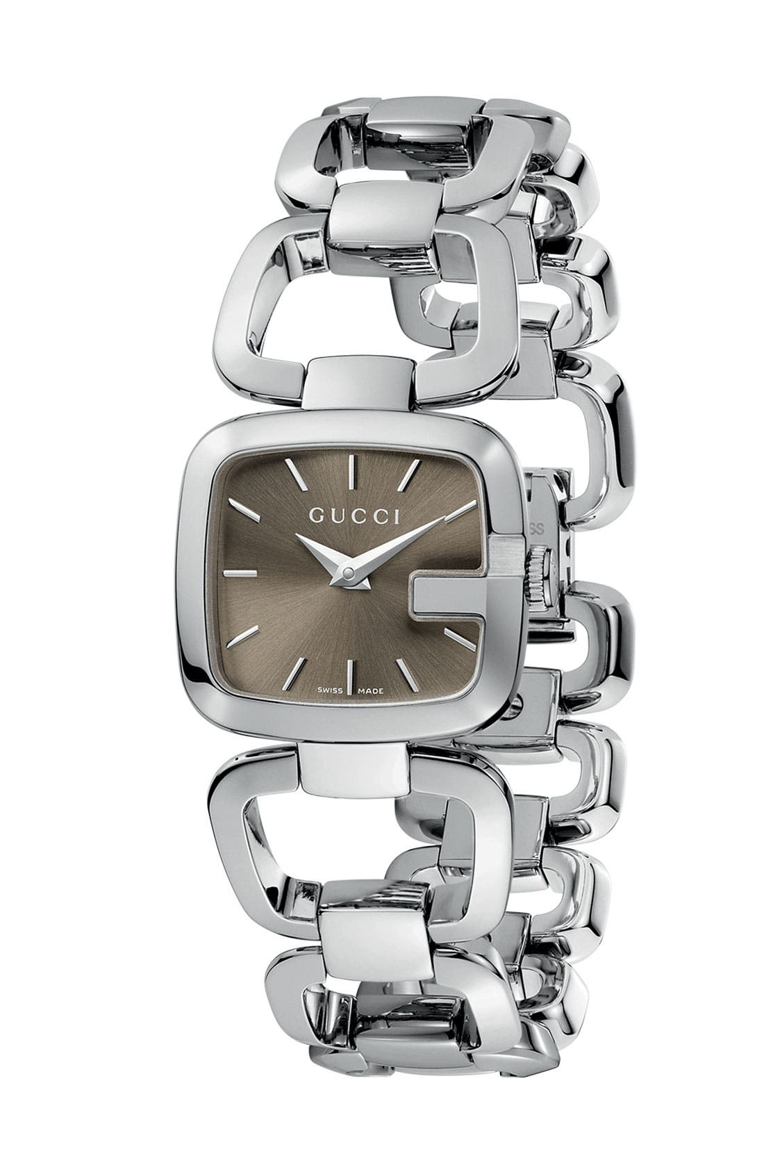 Alternate Image 1 Selected - Gucci Stainless Steel Diamond Watch, 24mm x 22mm