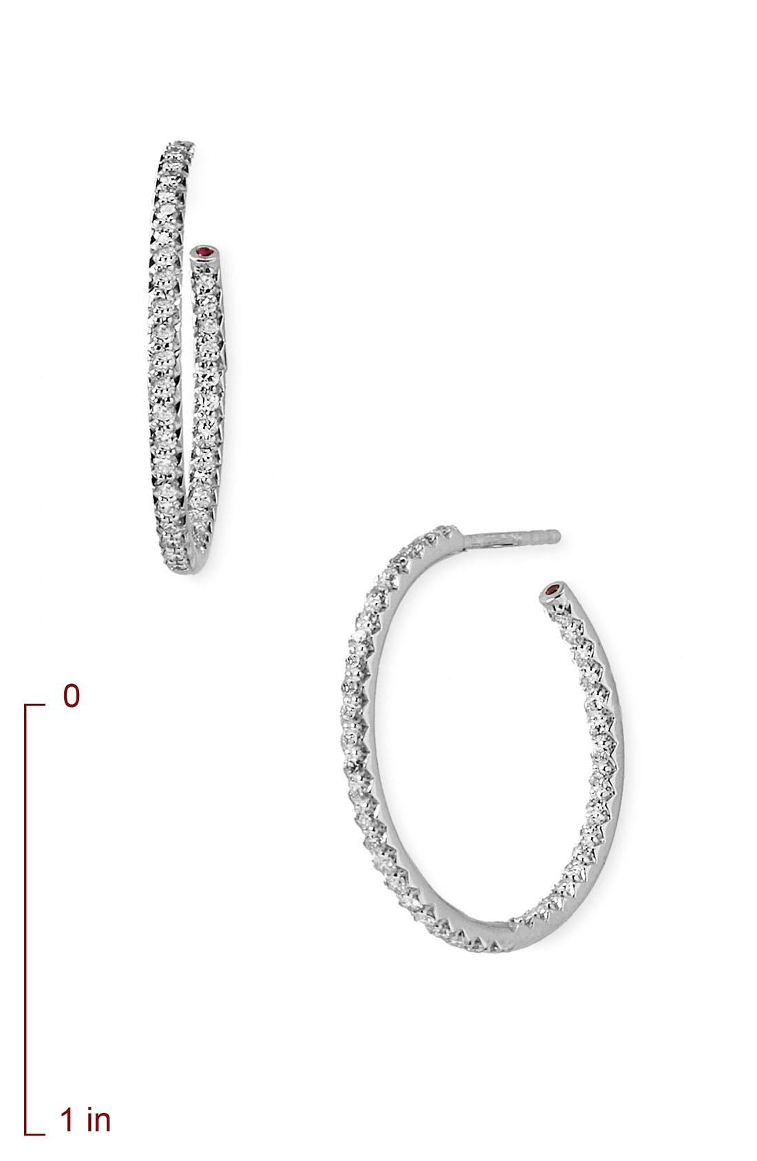 Alternate Image 2  - Roberto Coin Medium Diamond Hoop Earrings