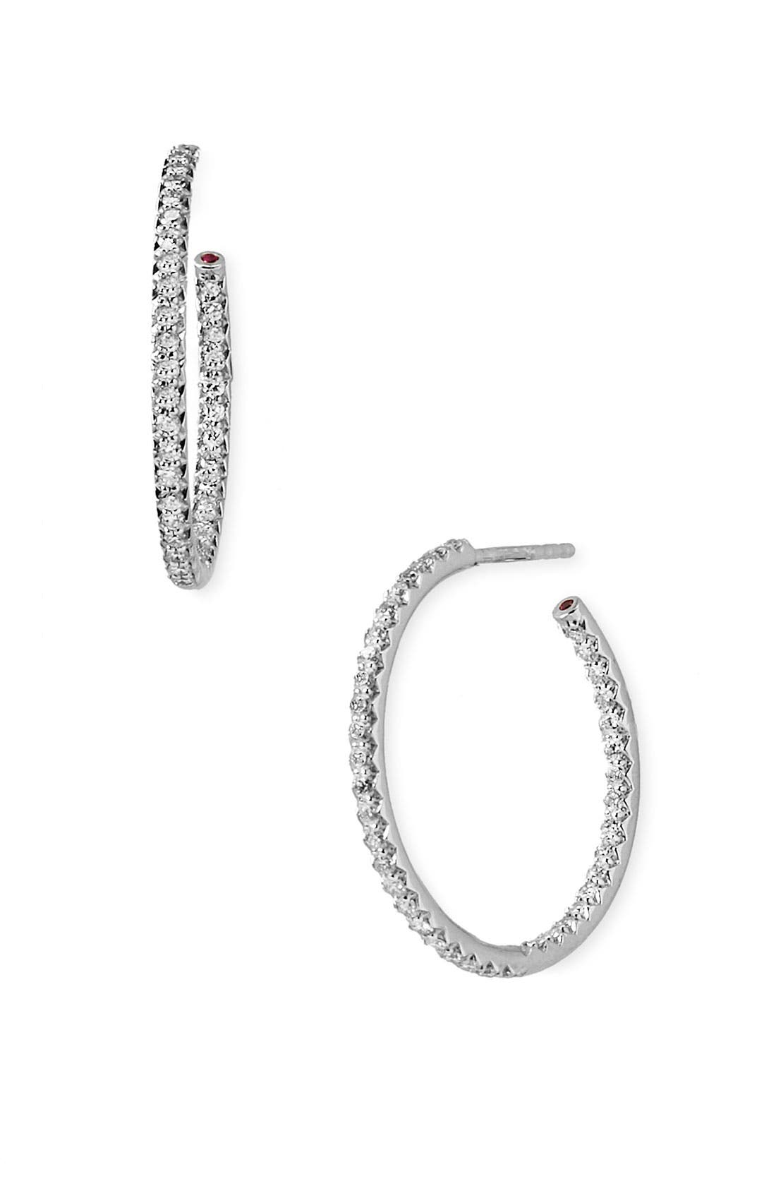 Alternate Image 1 Selected - Roberto Coin Medium Diamond Hoop Earrings