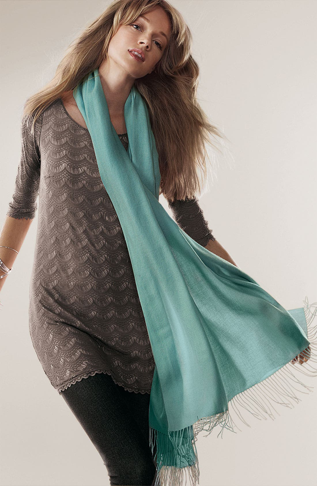 Alternate Image 2  - Nordstrom Tissue Weight Cashmere Wrap