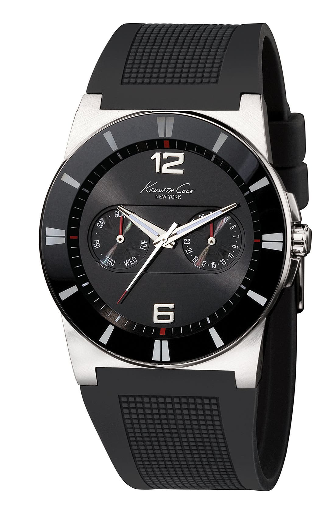 Alternate Image 1 Selected - Kenneth Cole New York Silicone Strap Watch, 40mm