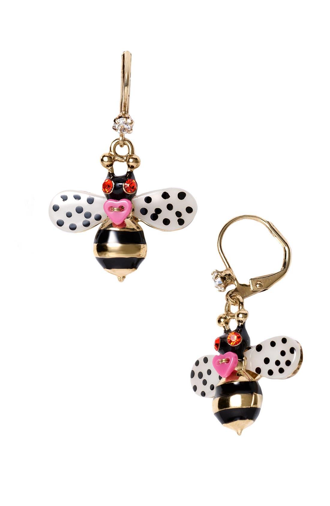Alternate Image 1 Selected - Betsey Johnson 'Flower Girl' Bee Drop Earrings