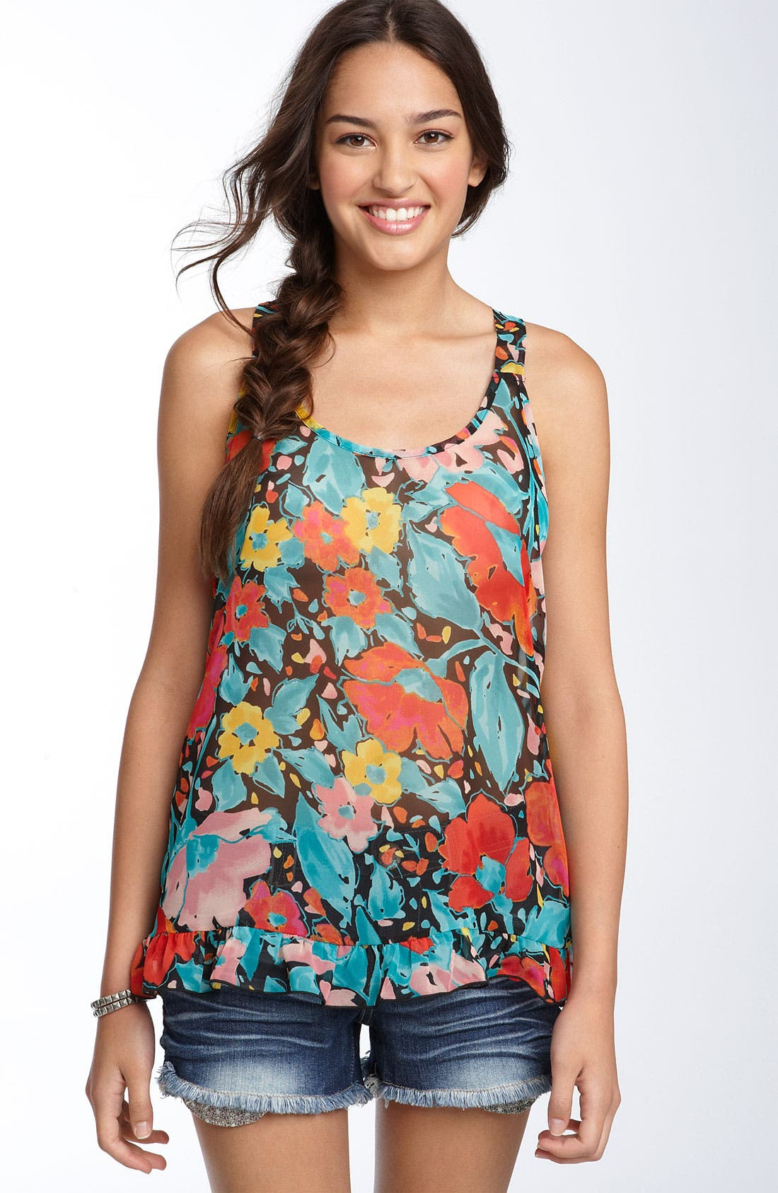 Alternate Image 1 Selected - Lily White Ruffled Racerback Tank (Juniors)