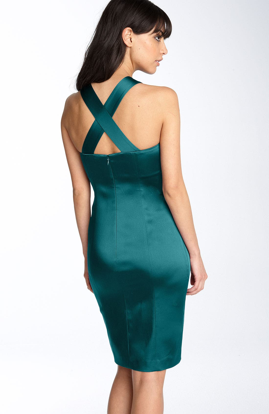 Alternate Image 2  - Calvin Klein Pleated Bodice Stretch Satin Sheath Dress