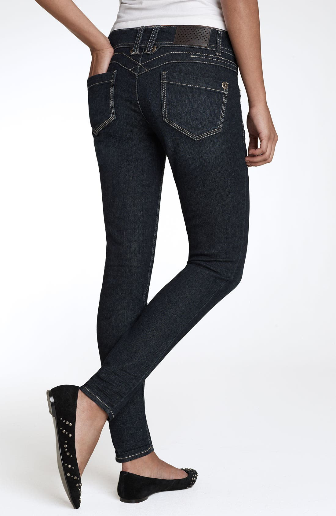 Main Image - Jolt 'Pick Me Up' Stretch Denim Leggings (Denim) (Juniors)