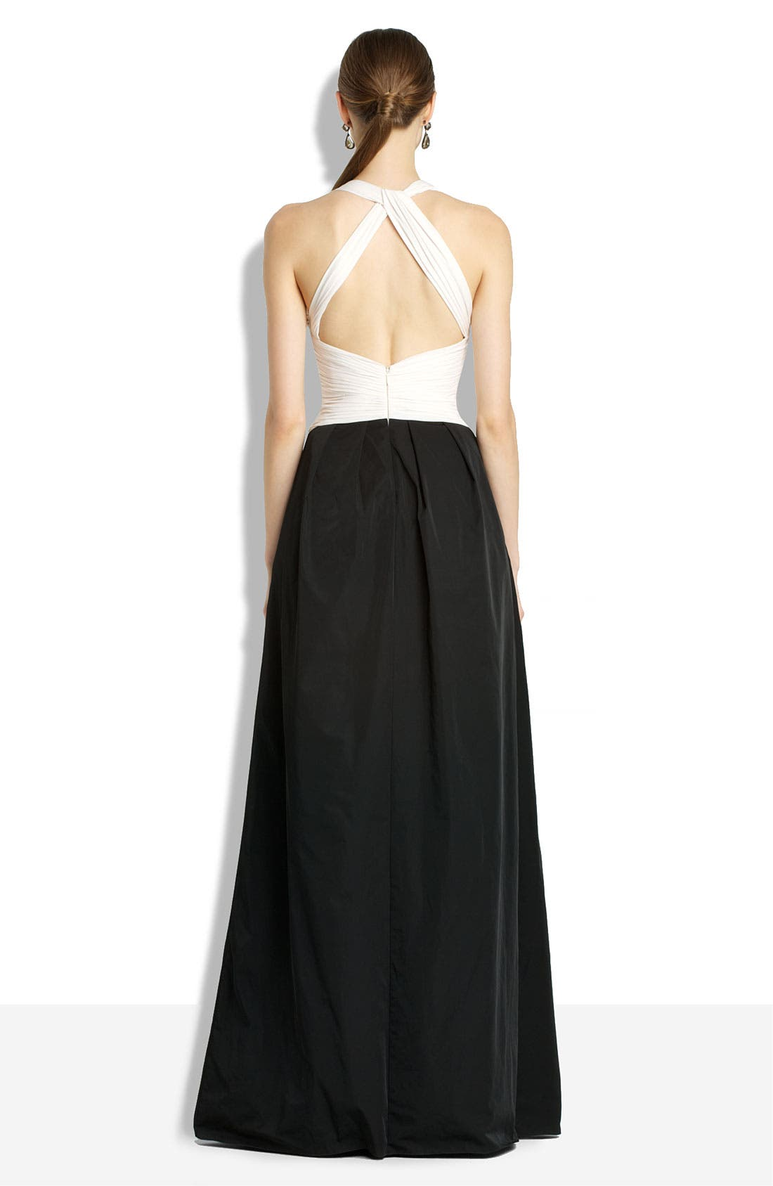 Alternate Image 2  - BCBGMAXAZRIA Open Back Chiffon & Taffeta Gown