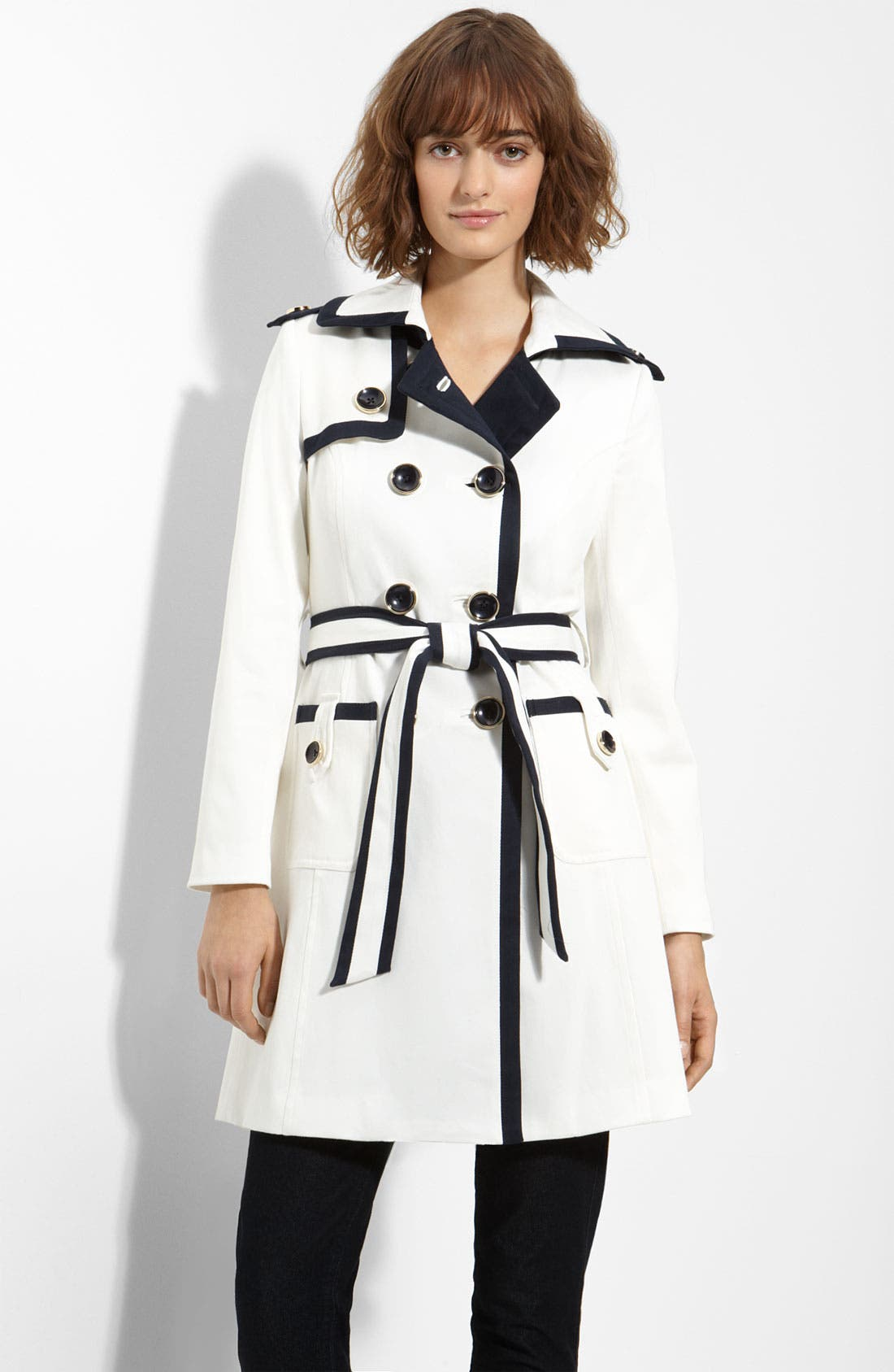 Main Image - Milly Piped Stretch Twill Trench