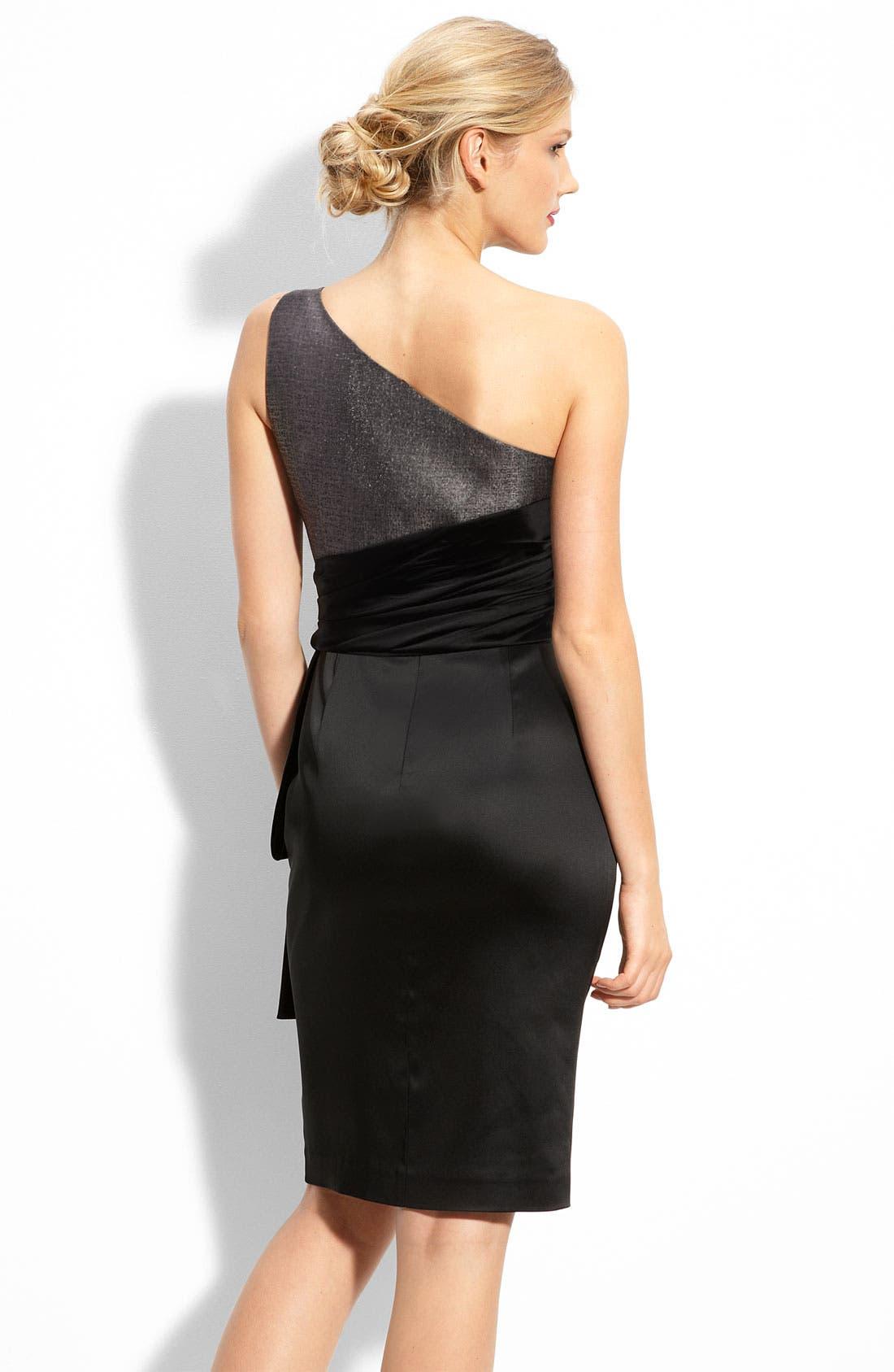Alternate Image 2  - Maggy London One Shoulder Jacquard & Stretch Satin Dress