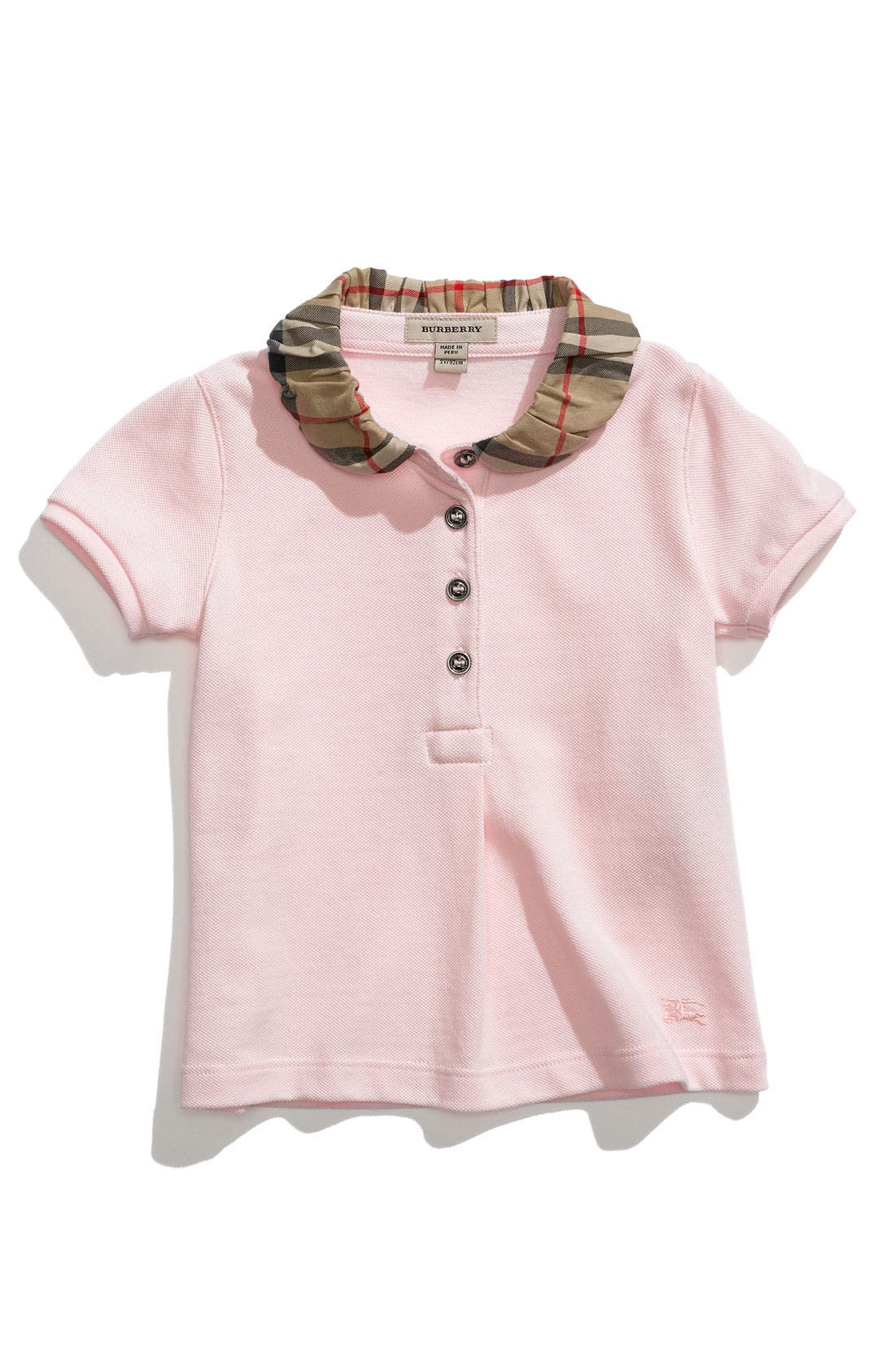 Main Image - Burberry Check Collar Piqué Polo (Toddler)