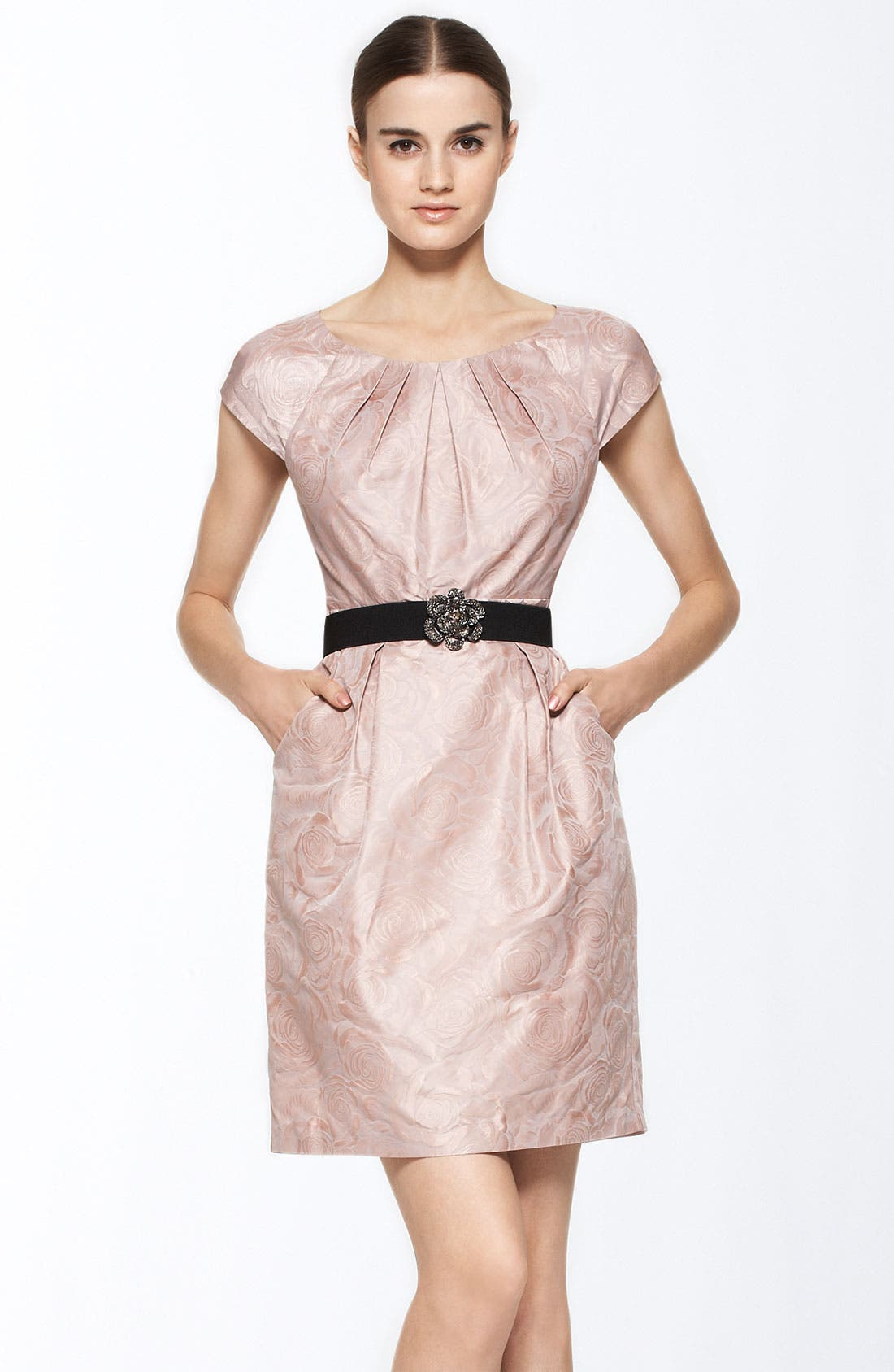 Main Image - BCBGMAXAZRIA Belted Rose Jacquard Sheath Dress