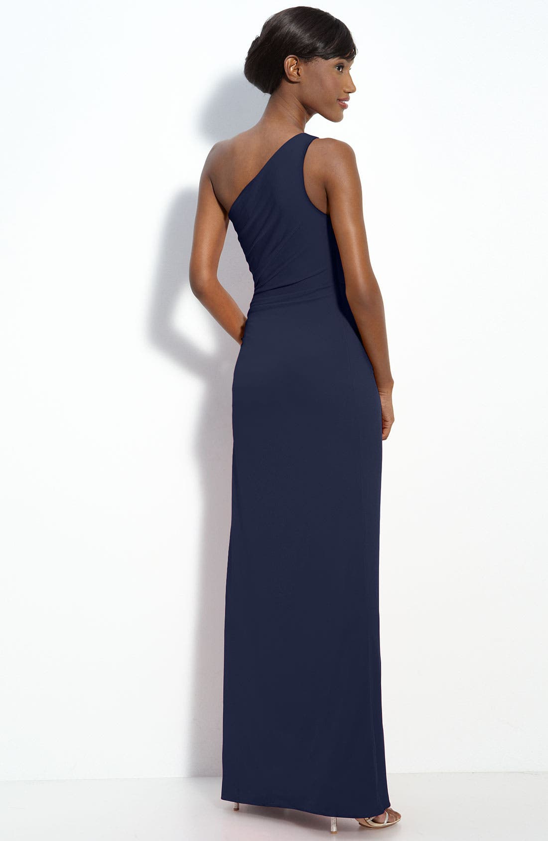 Alternate Image 2  - Laundry by Shelli Segal Beaded Panel One-Shoulder Jersey Gown (Regular & Petite)