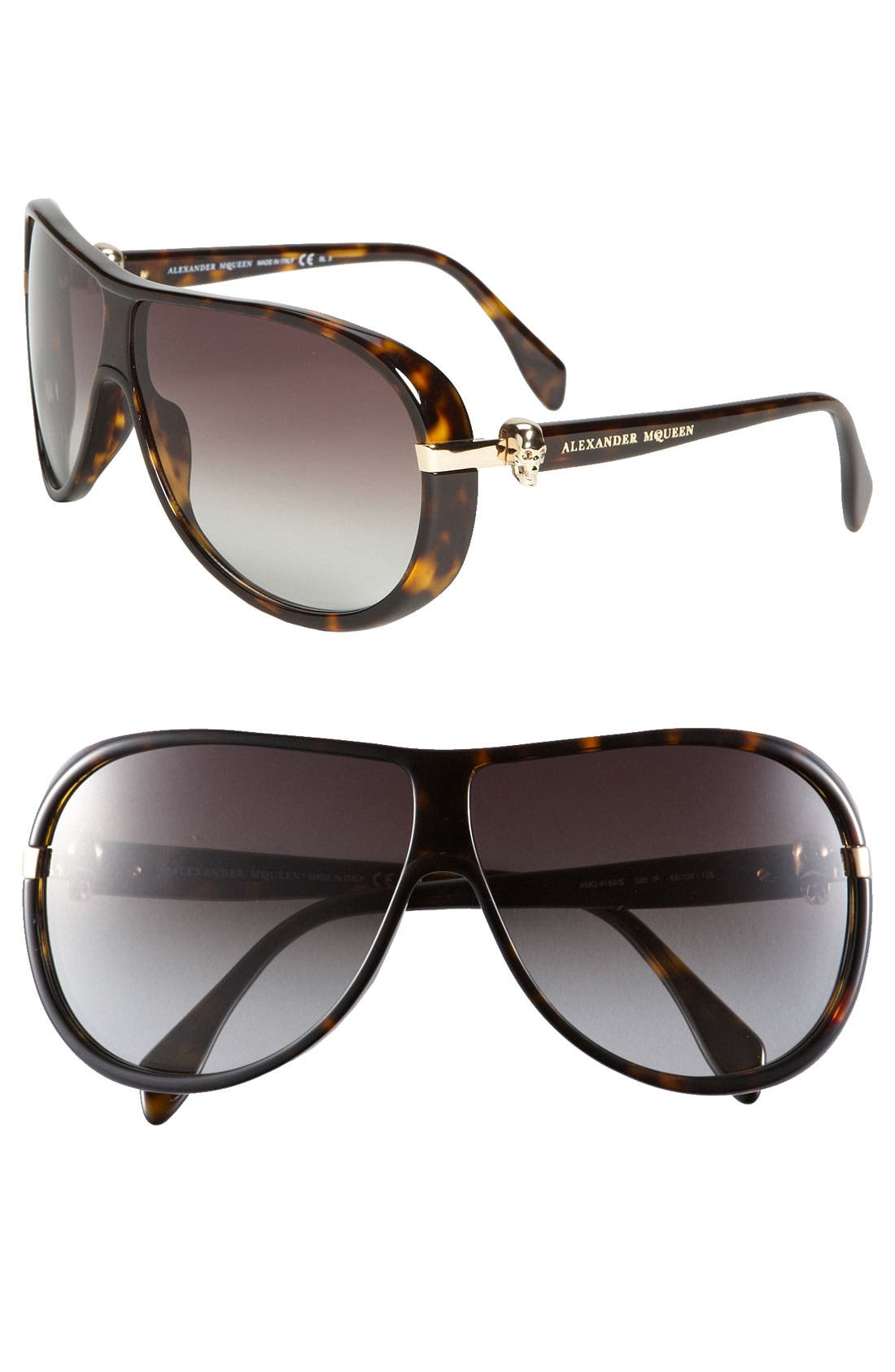 Main Image - Alexander McQueen 65mm Skull Temple Aviator Sunglasses