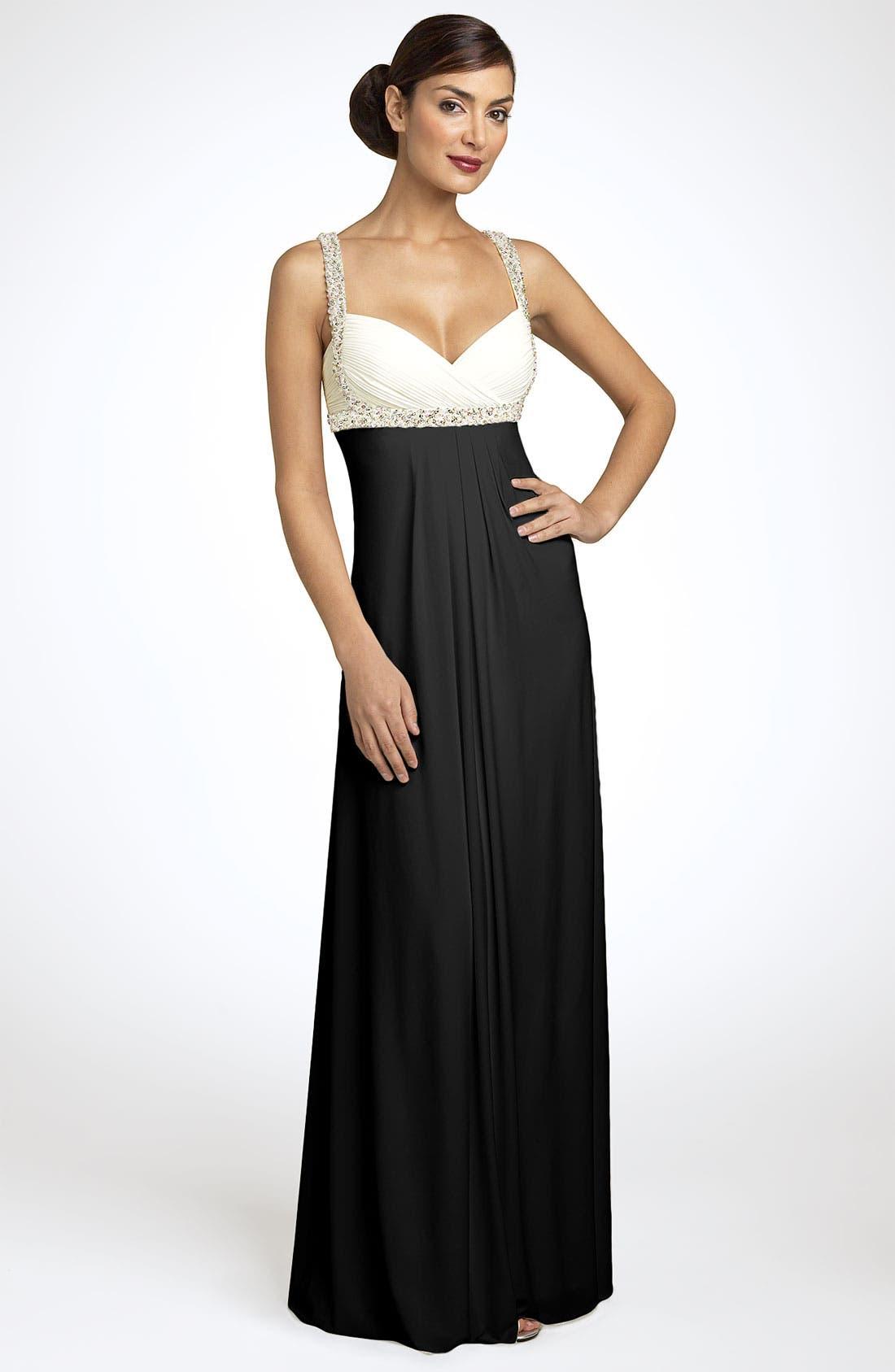 Alternate Image 1  - JS Boutique Pearl Trim Crisscross Matte Jersey Gown