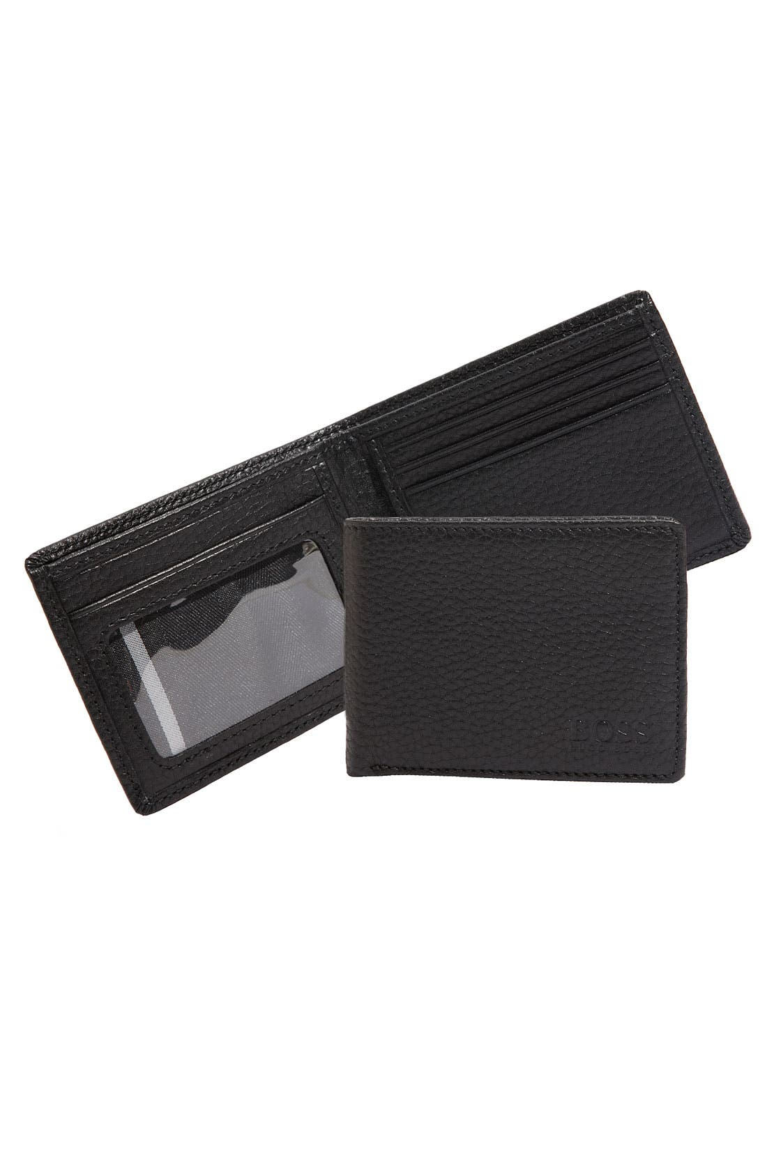 Main Image - BOSS Leather Bifold Wallet with ID Window