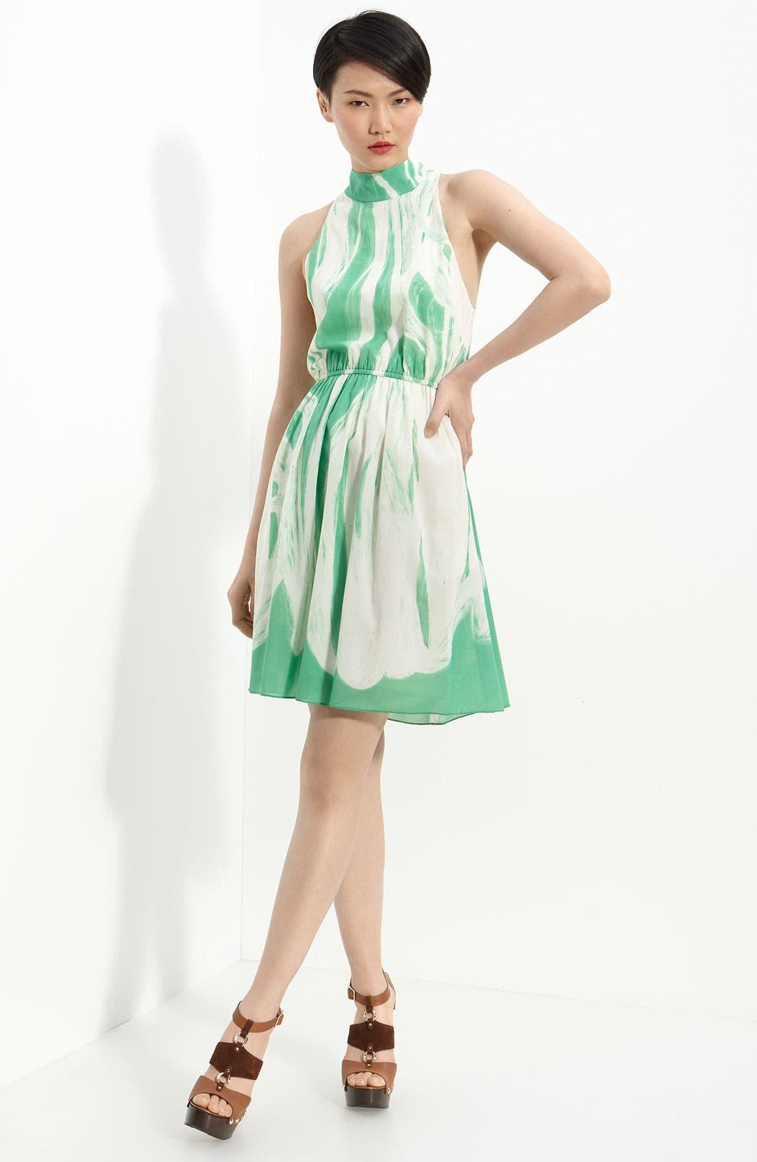 Main Image - Alice + Olivia Cutout Back Stretch Silk Dress