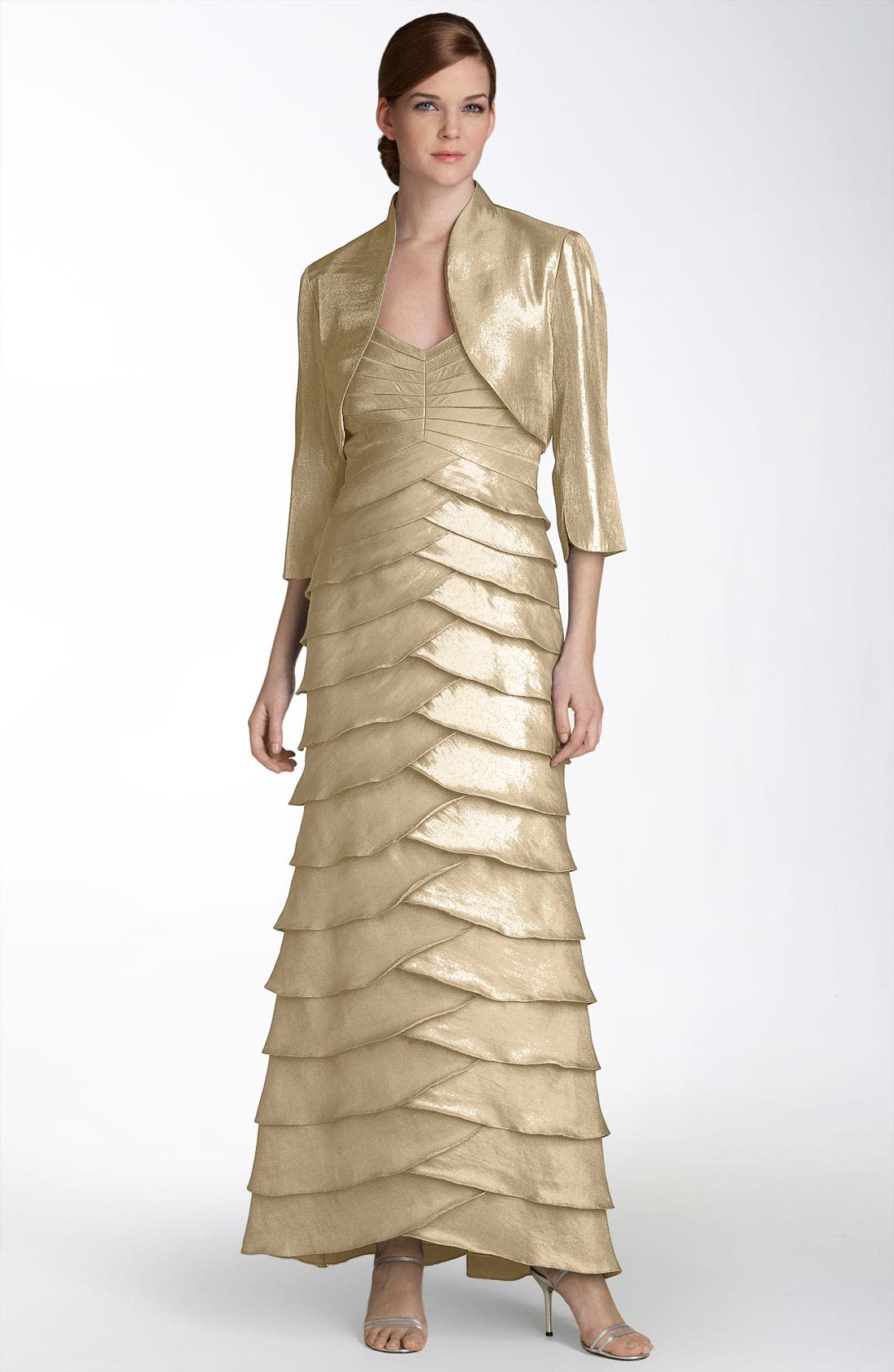 Alternate Image 1 Selected - Adrianna Papell Evening Shutter Pleat Gown with Bolero Jacket (Petite)