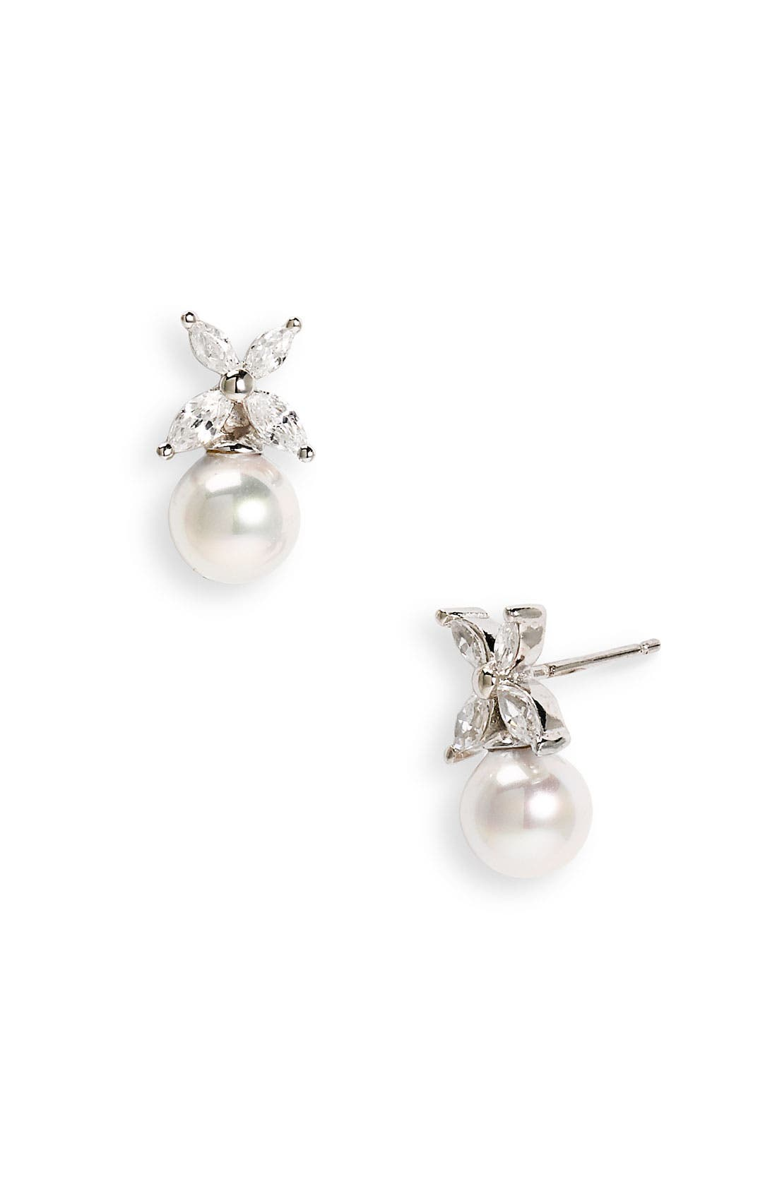 Alternate Image 1 Selected - Majorica 8mm Pearl & Cubic Zirconia Flower Earrings