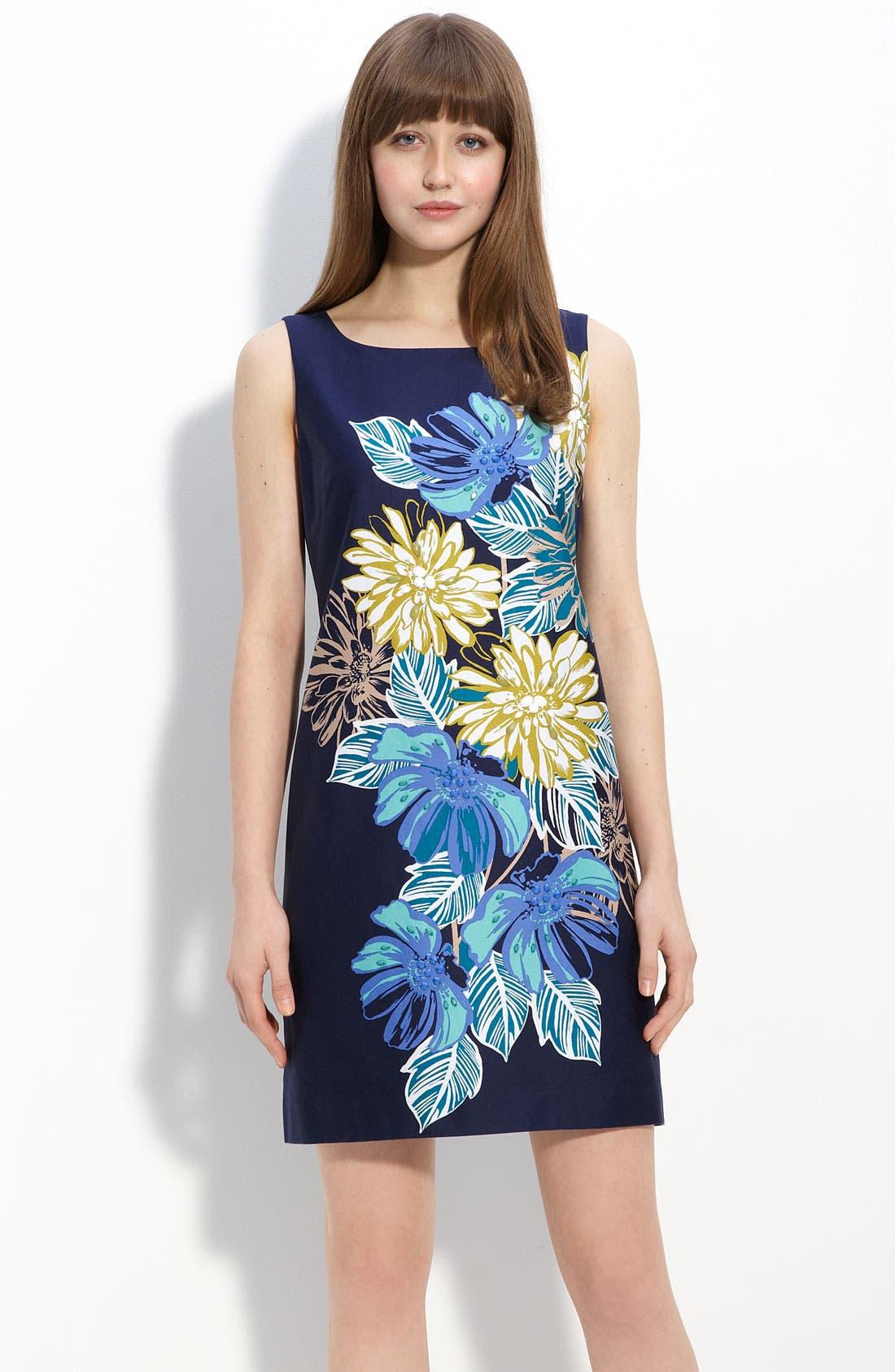 Main Image - Eliza J Placed Print Stretch Cotton Shift Dress