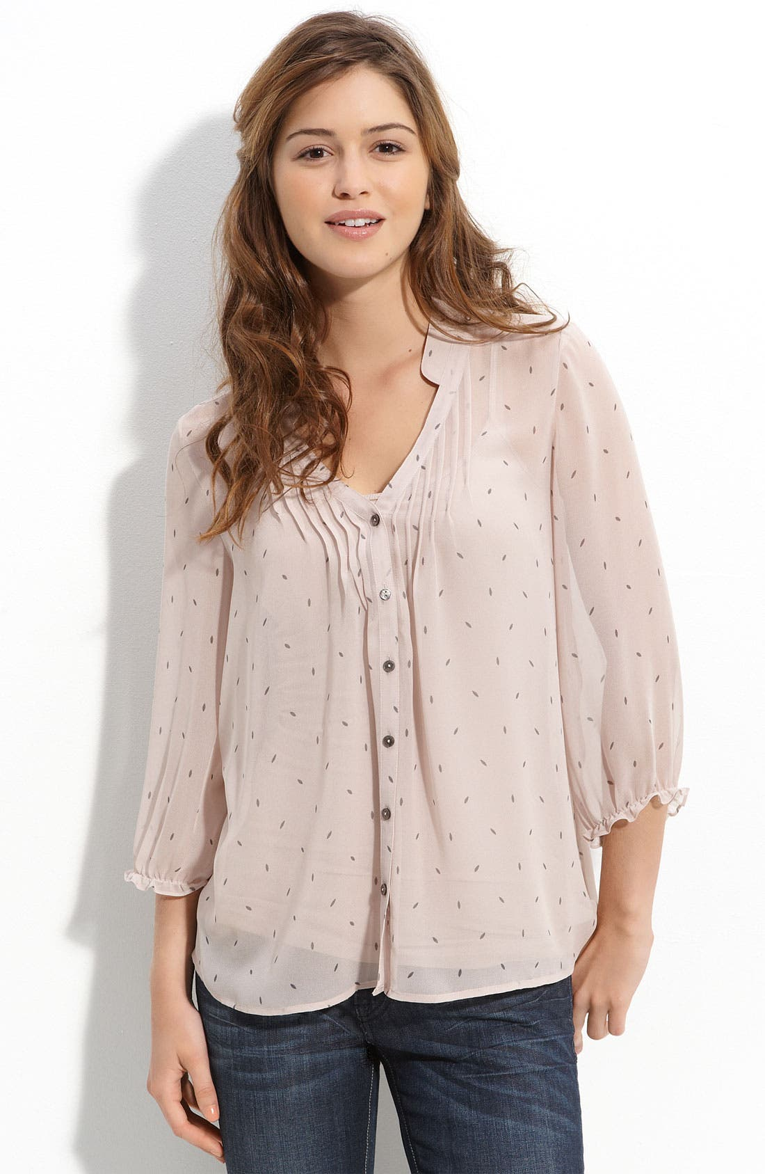 Alternate Image 1 Selected - Frenchi® Pintucked Chiffon Top (Juniors)