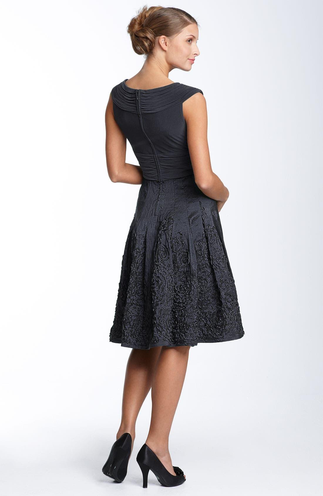 Alternate Image 2  - Adrianna Papell Matte Jersey & Taffeta Dress (Regular & Petite)