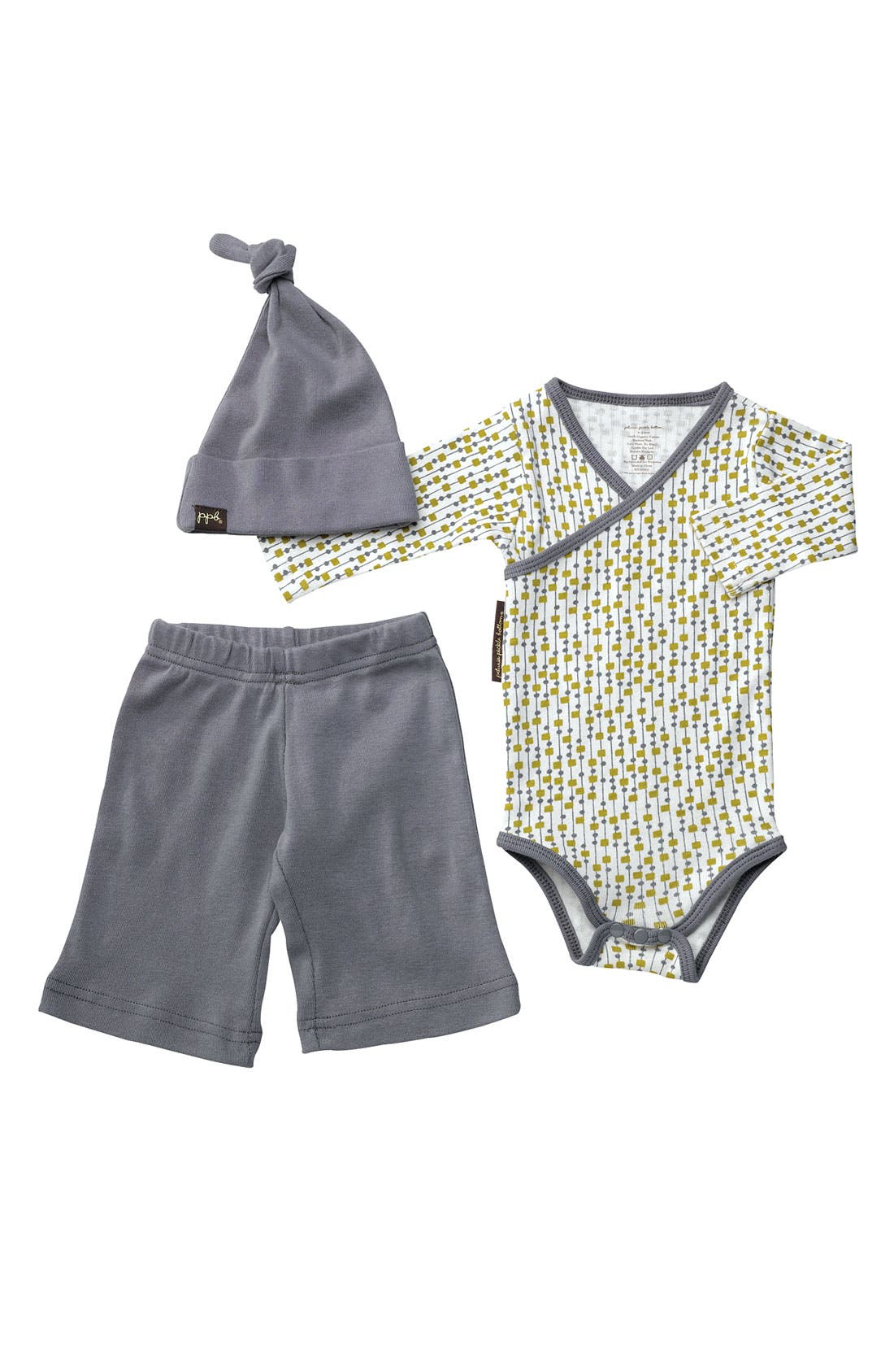 Alternate Image 1 Selected - Petunia Pickle Bottom 'Social' Hat, Bodysuit & Pants Set (Baby)