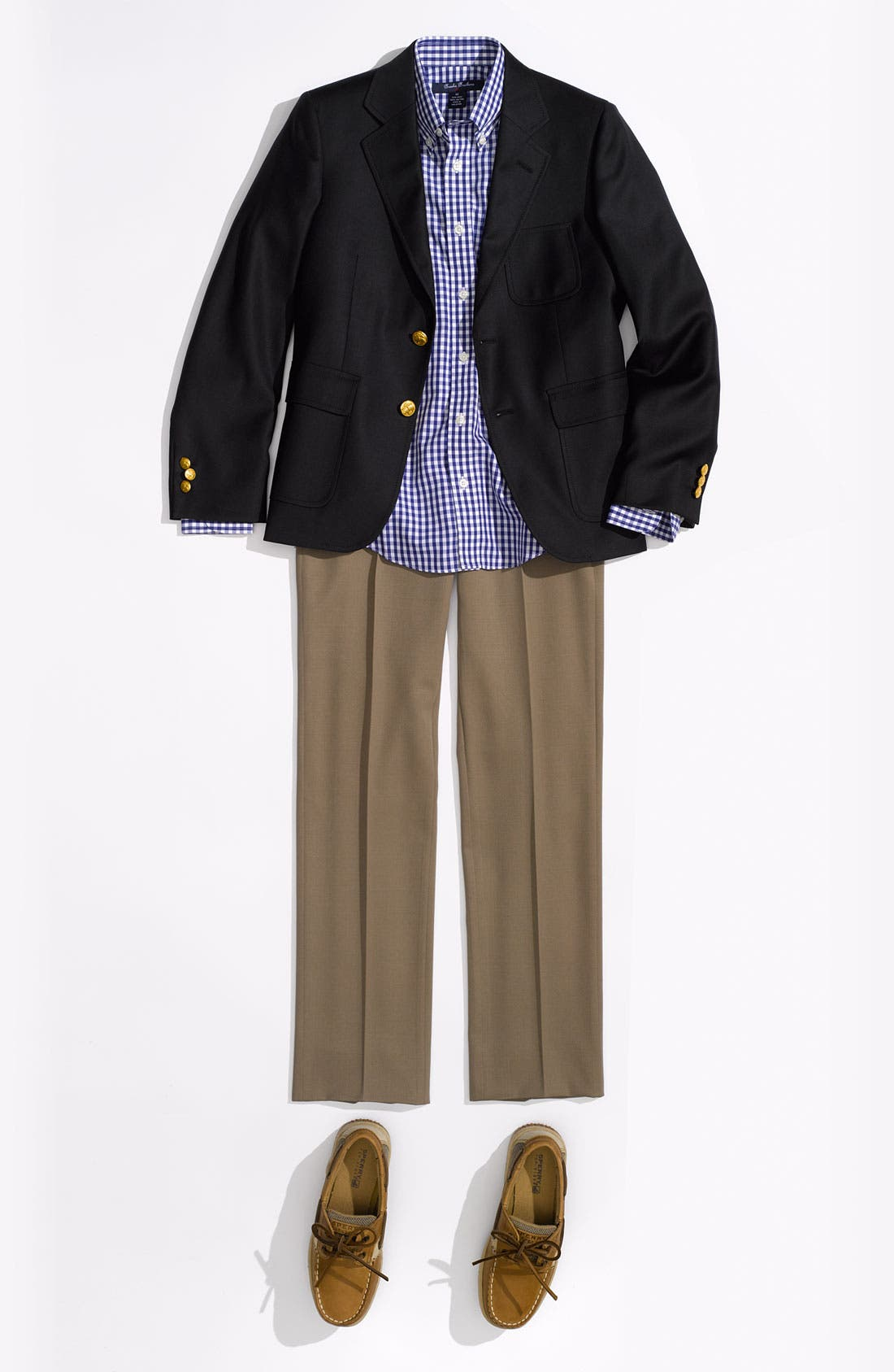 Alternate Image 2  - Brooks Brothers Flat Front Wool Trousers (Big Boys)