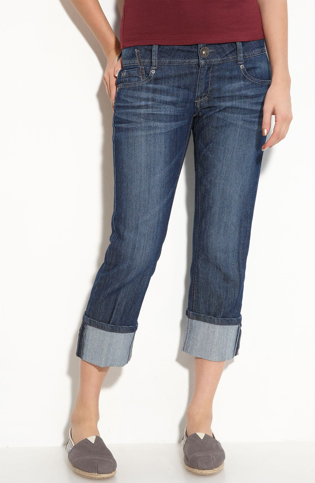 Alternate Image 2  - Jolt Roll Cuff Crop Jeans (Medium Wash) (Juniors)