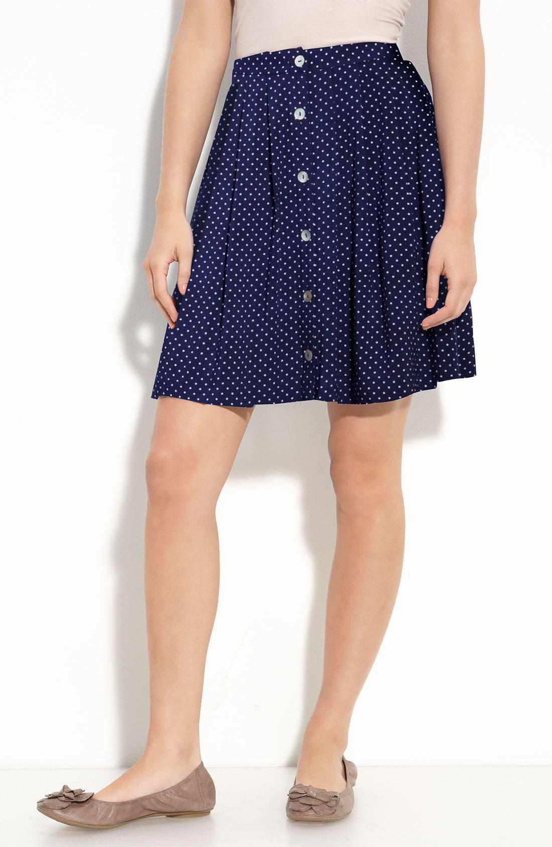 Alternate Image 1 Selected - Fire Button Front Skirt (Juniors)