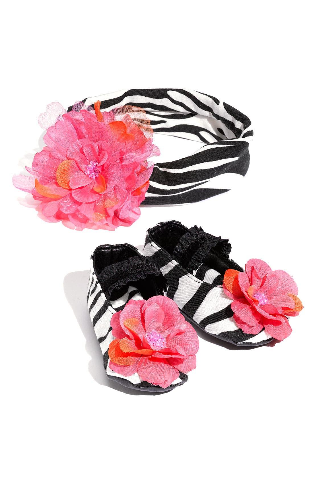 Main Image - PLH Bows & Laces Animal Print Shoes & Headband Set (Baby)