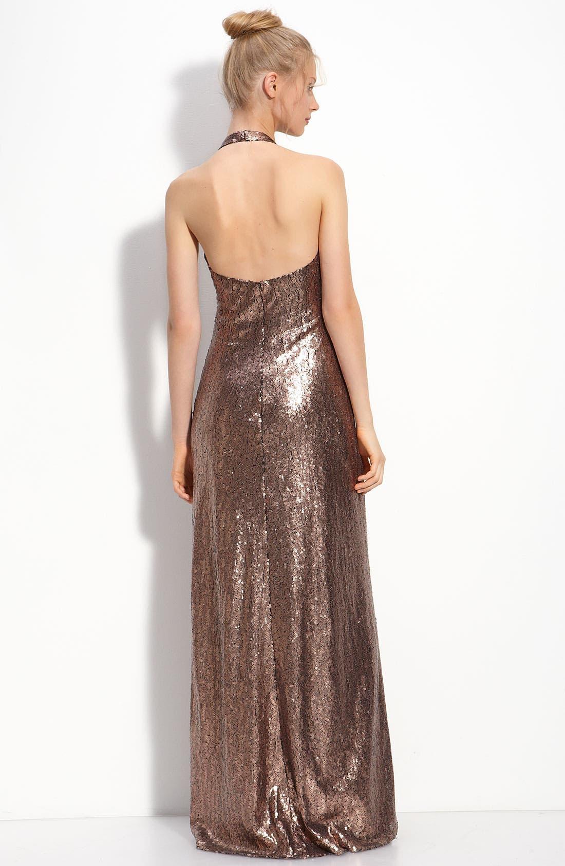 Alternate Image 2  - JS Boutique Sequin Halter Gown