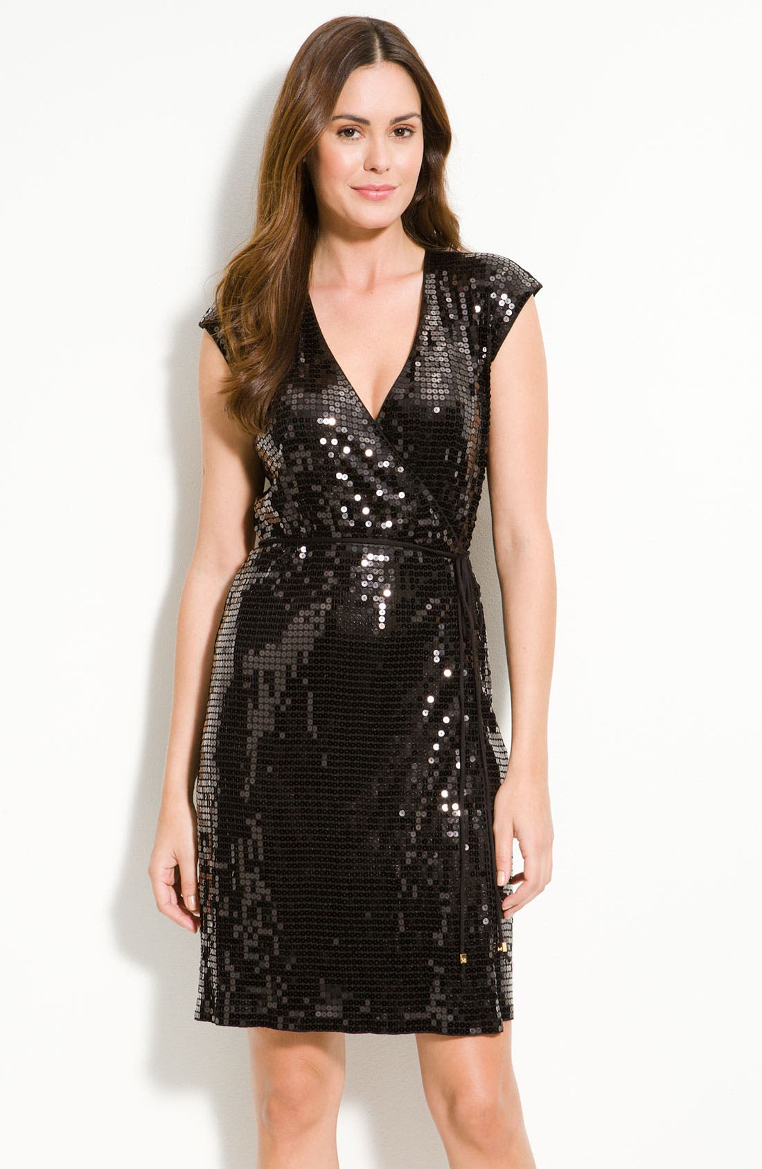 Alternate Image 1 Selected - MICHAEL Michael Kors Sequin Knit Wrap Dress