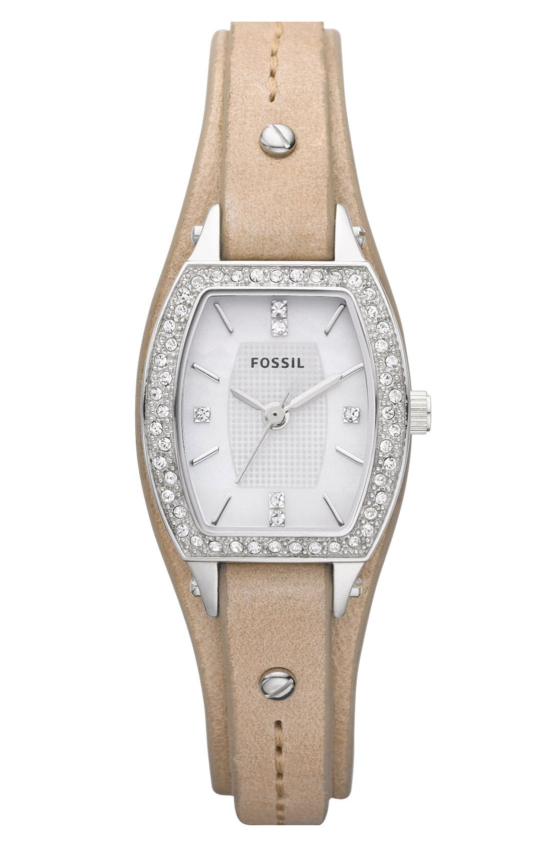 Main Image - Fossil Ladies' Crystal Accent Leather Cuff Watch, 24mm