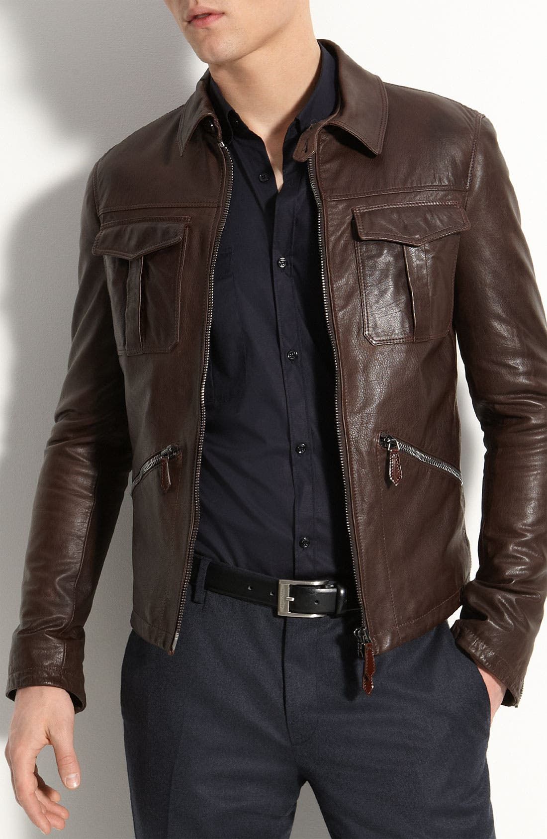Main Image - Burberry London Leather Bomber Jacket