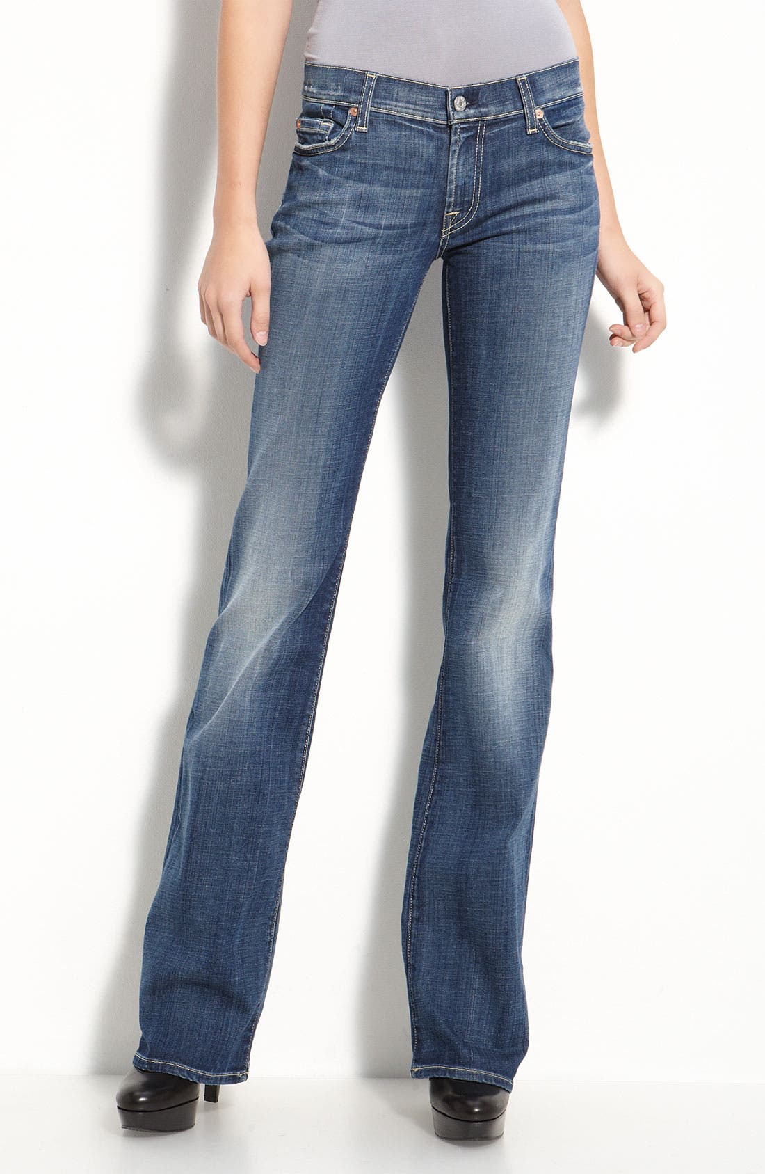 Main Image - 7 For All Mankind® Stretch Denim Bootcut Jeans (Vintage Flash Wash)