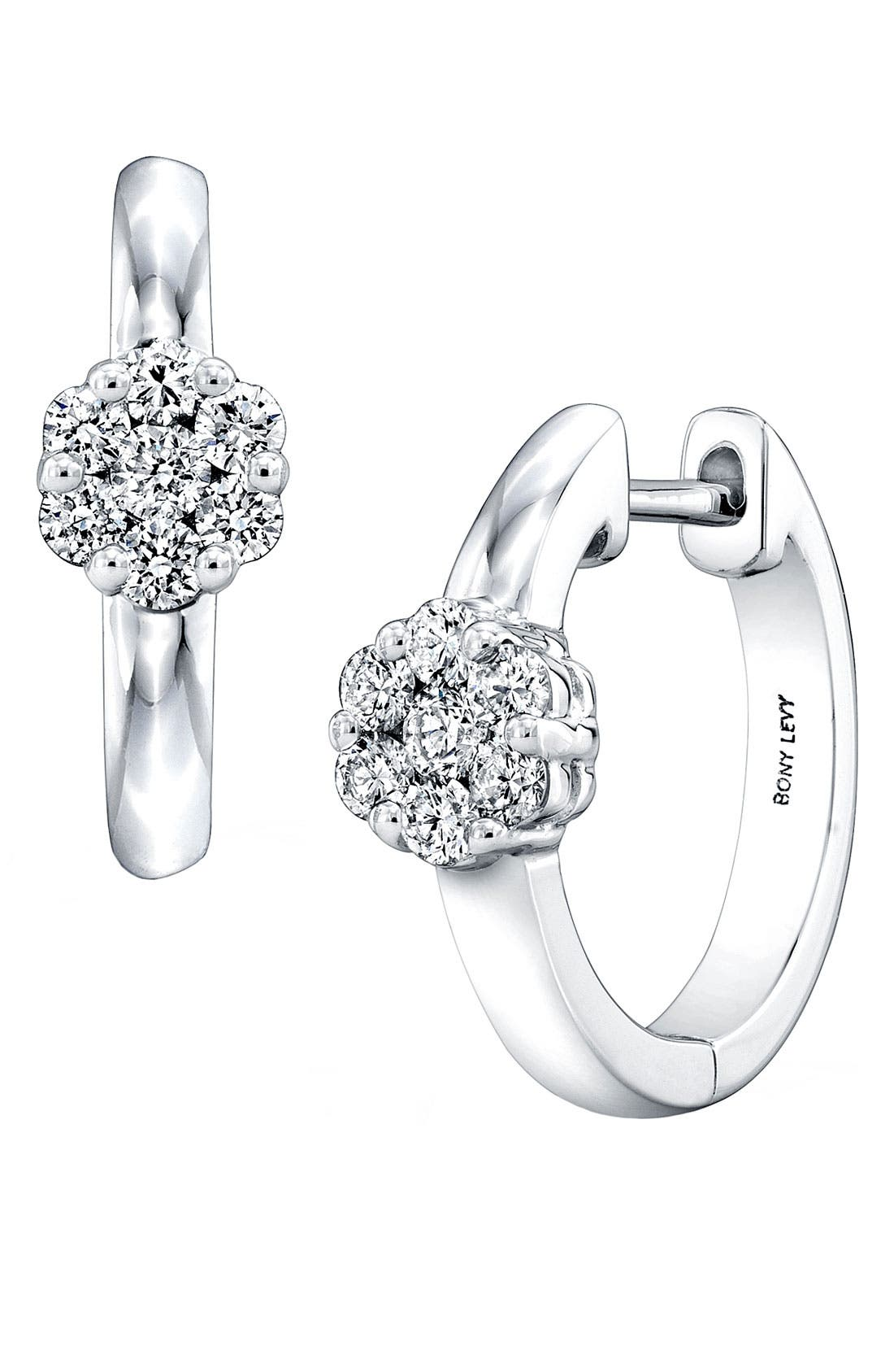 Main Image - Bony Levy Flower Diamond Hoop Earrings (Nordstrom Exclusive)