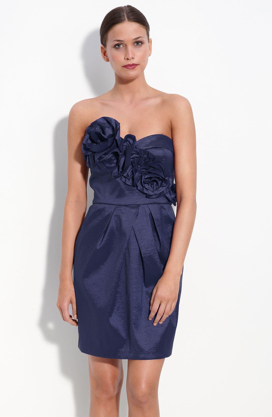 Main Image - Max & Cleo Rosette Trim Strapless Taffeta Dress