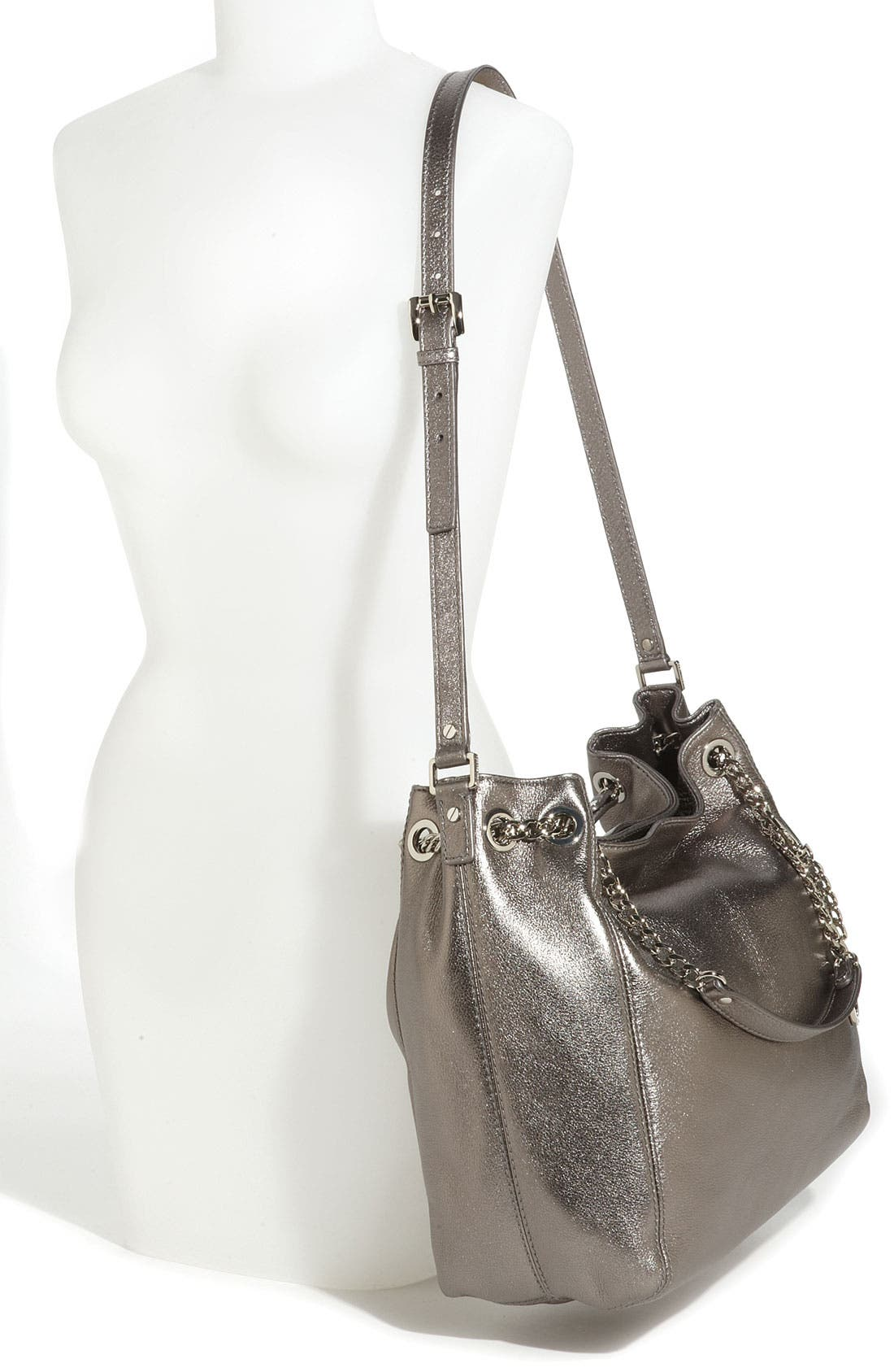 Alternate Image 2  - MICHAEL Michael Kors 'Jet Set - Large' Metallic Leather Shoulder Tote