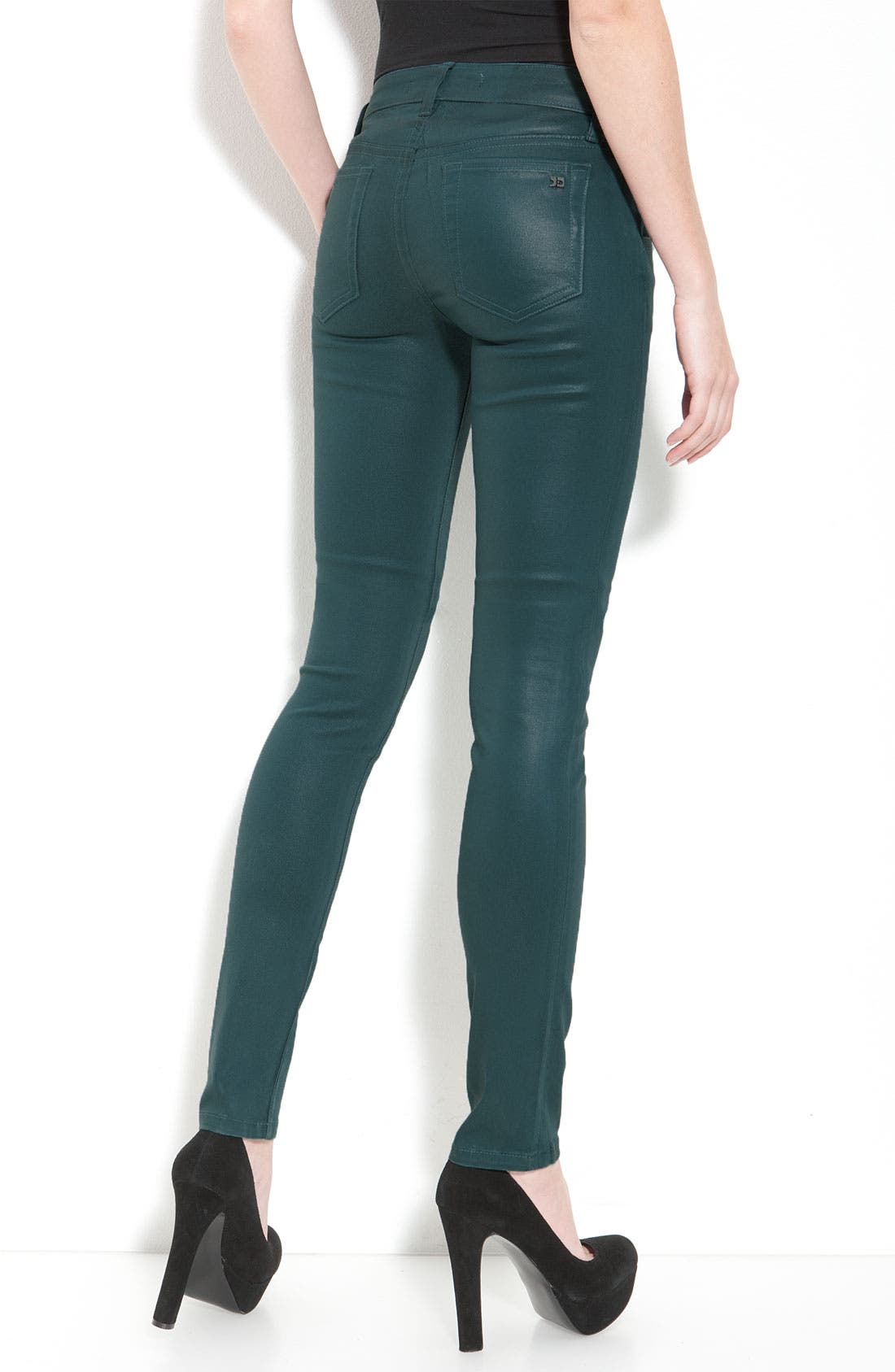 Main Image - Joe's Coated Skinny Stretch Jeans (Teal Wash)
