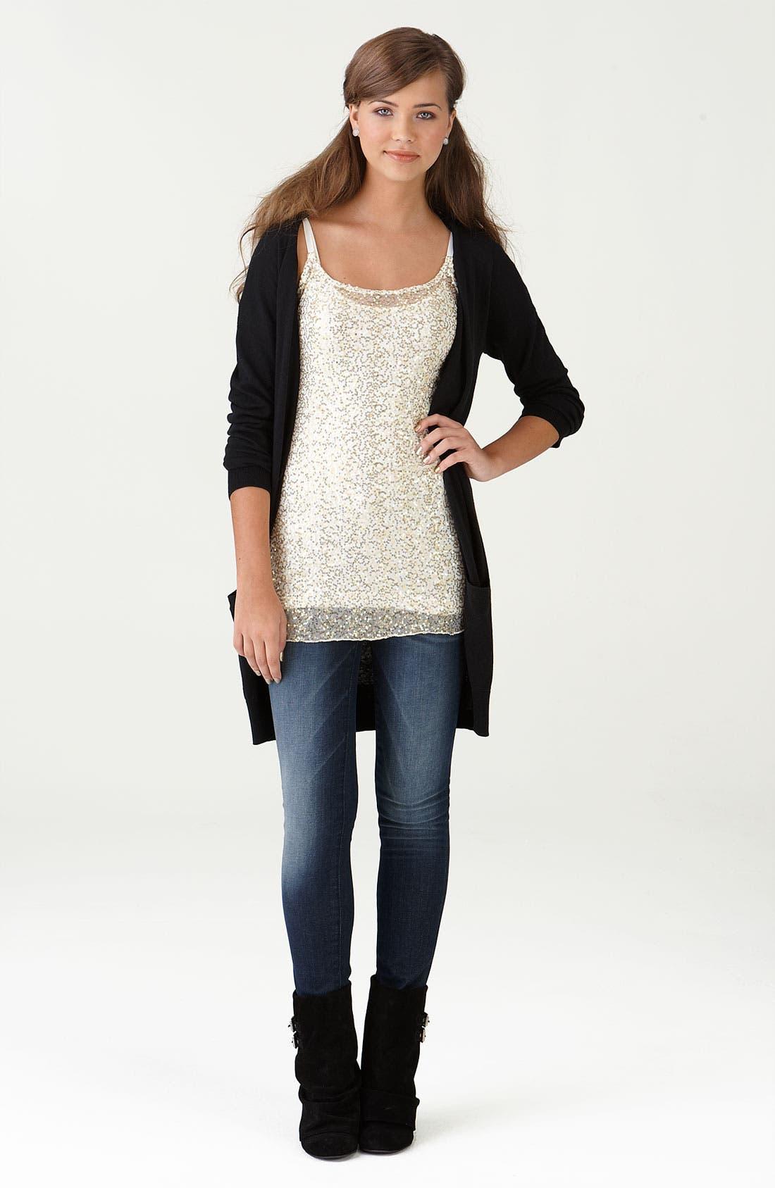 Main Image - Frenchi® Cardigan, h.i.p. Tunic & Vigoss Jeans