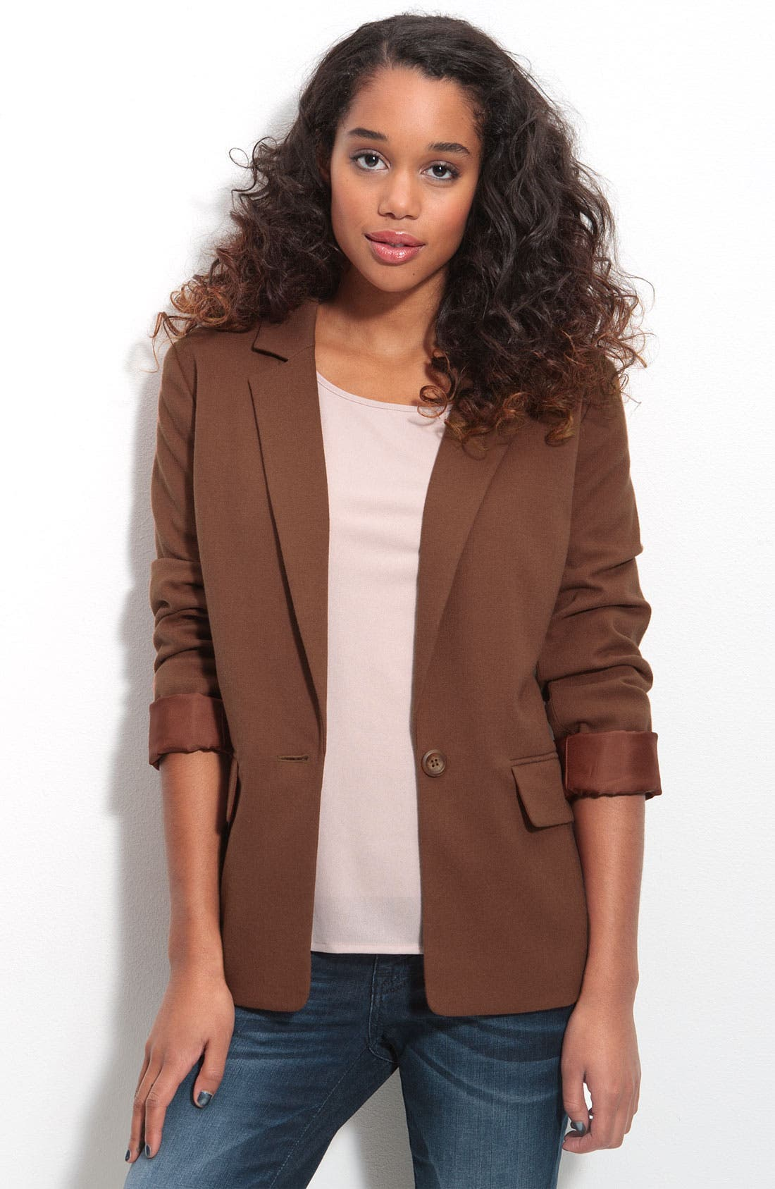 Alternate Image 1 Selected - Frenchi® Cool Boyfriend Blazer (Juniors)
