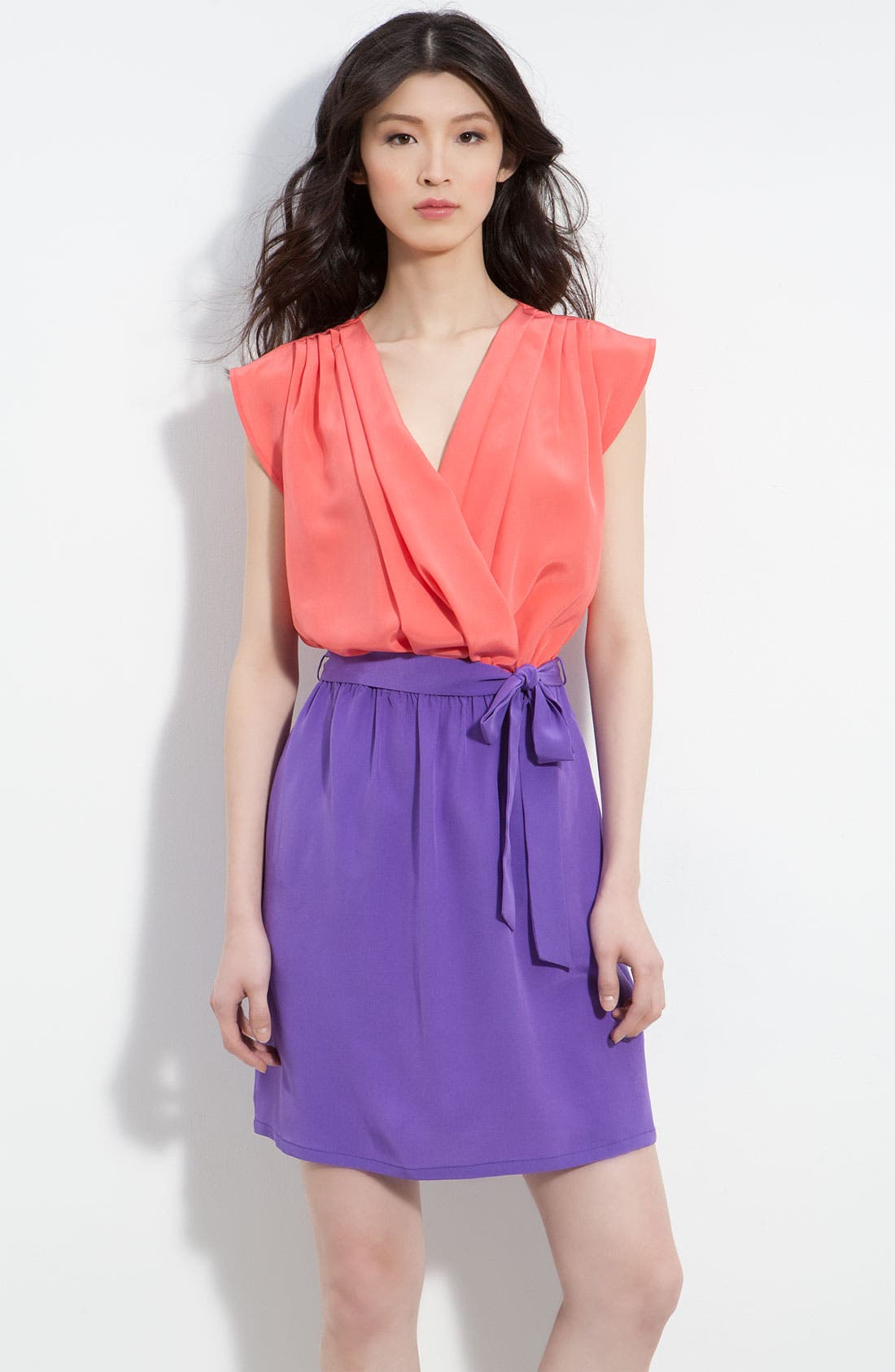 Main Image - Charlie Jade 'April' Pleated Surplice Colorblock Silk Dress
