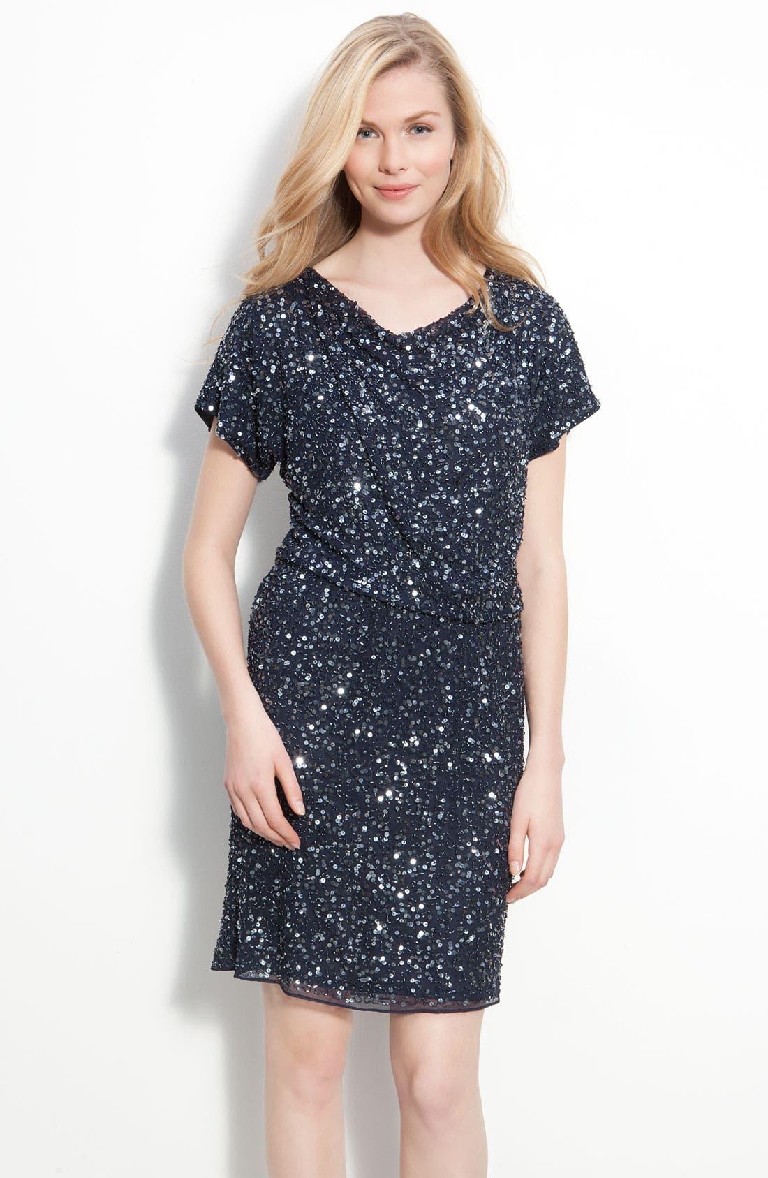 Main Image - Pisarro Nights Embellished Silk Chiffon Dress