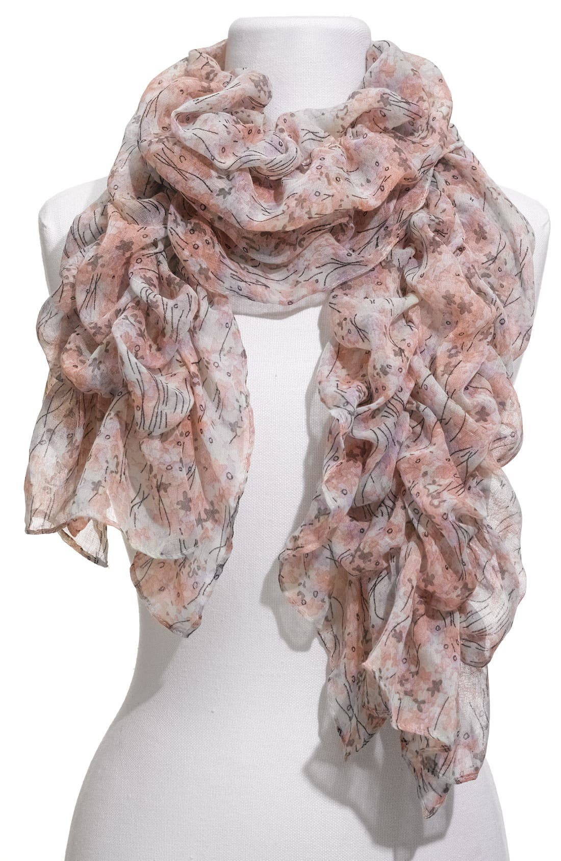 Alternate Image 1 Selected - Lulu Floral Ruched Scarf