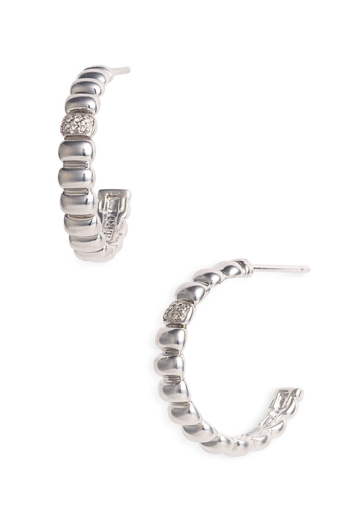 Alternate Image 1 Selected - John Hardy 'Bedeg' Small Diamond Hoop Earrings