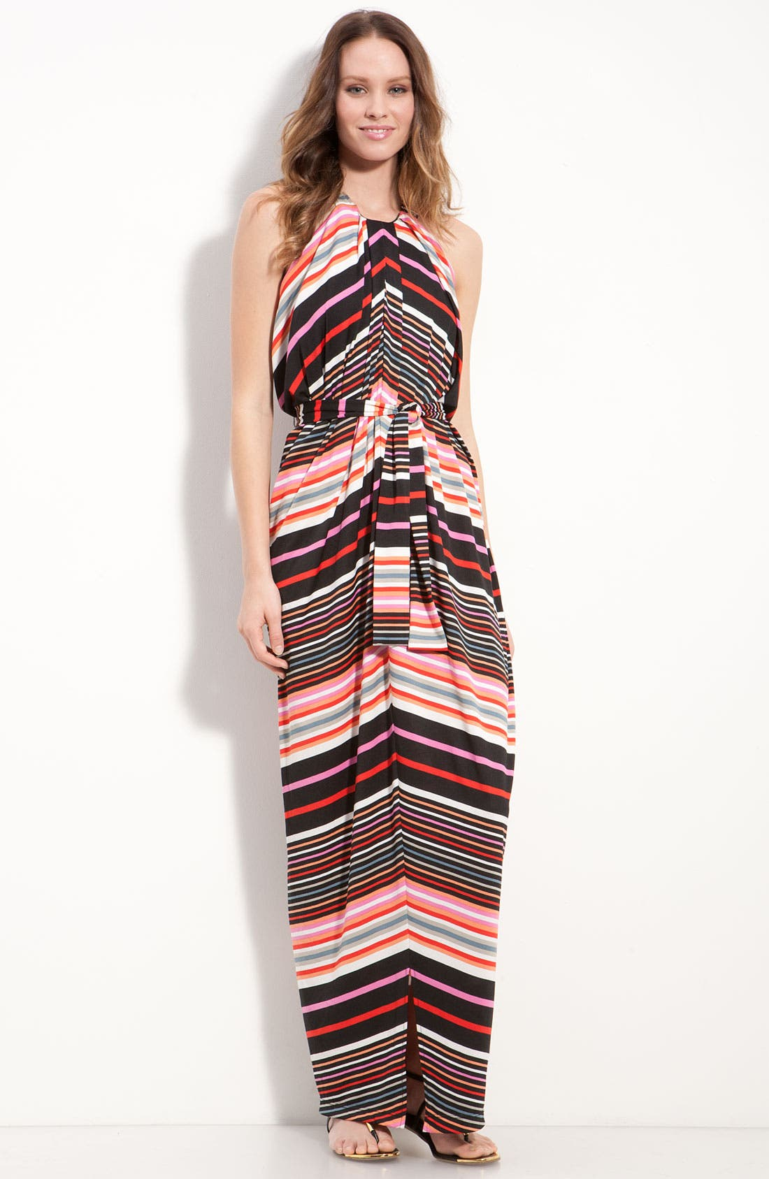 Alternate Image 1 Selected - Suzi Chin for Maggy Boutique Stripe Jersey Halter Dress