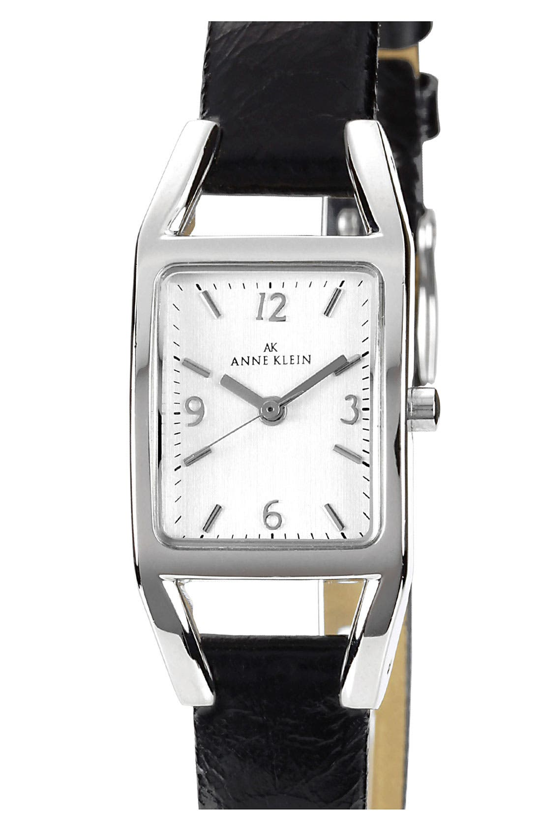 Alternate Image 1 Selected - Anne Klein Rectangular Leather Strap Watch