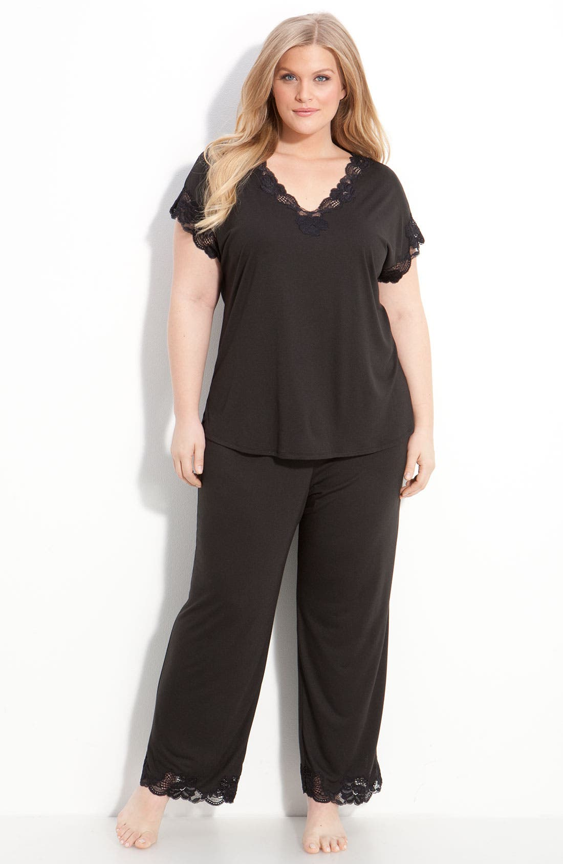 Alternate Image 1 Selected - Natori 'Zen Floral' Pajamas (Plus Size)