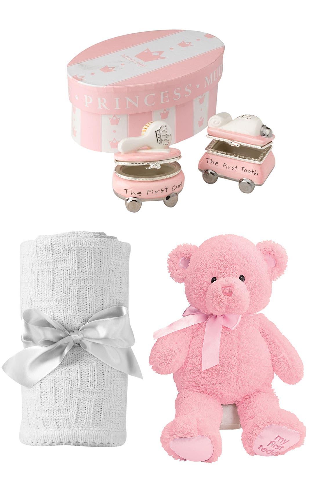 Main Image - Gund Teddy Bear, Mud Pie Treasure Boxes & Nordstrom Blanket