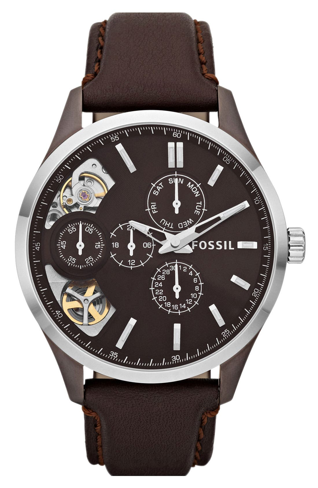 Alternate Image 1 Selected - Fossil 'Twist' Leather Strap Watch, 44mm