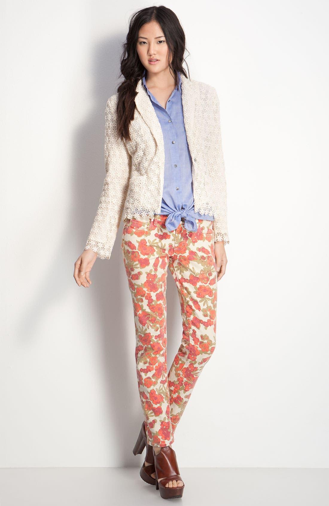 Alternate Image 4  - Paige Denim 'Skyline' Floral Skinny Ankle Jeans (Chello Ivory Print)